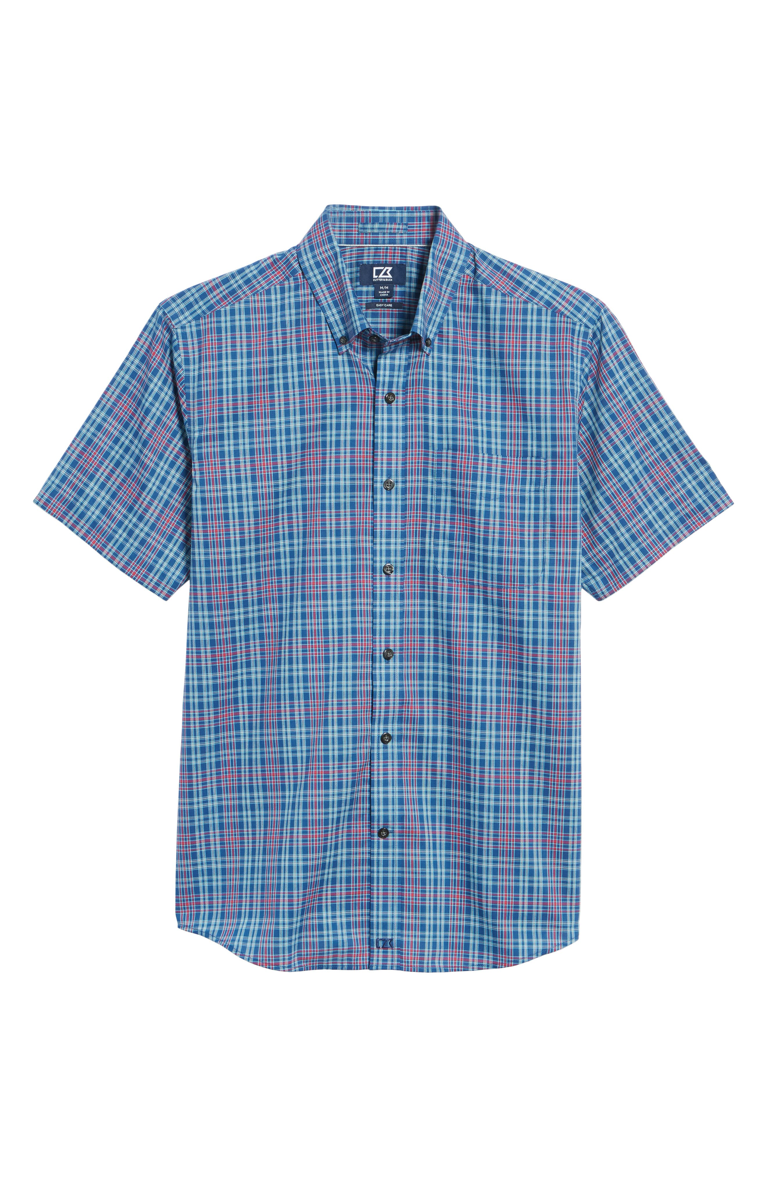 Isaac Classic Fit Easy Care Check Sport Shirt,                             Alternate thumbnail 4, color,                             Nautical