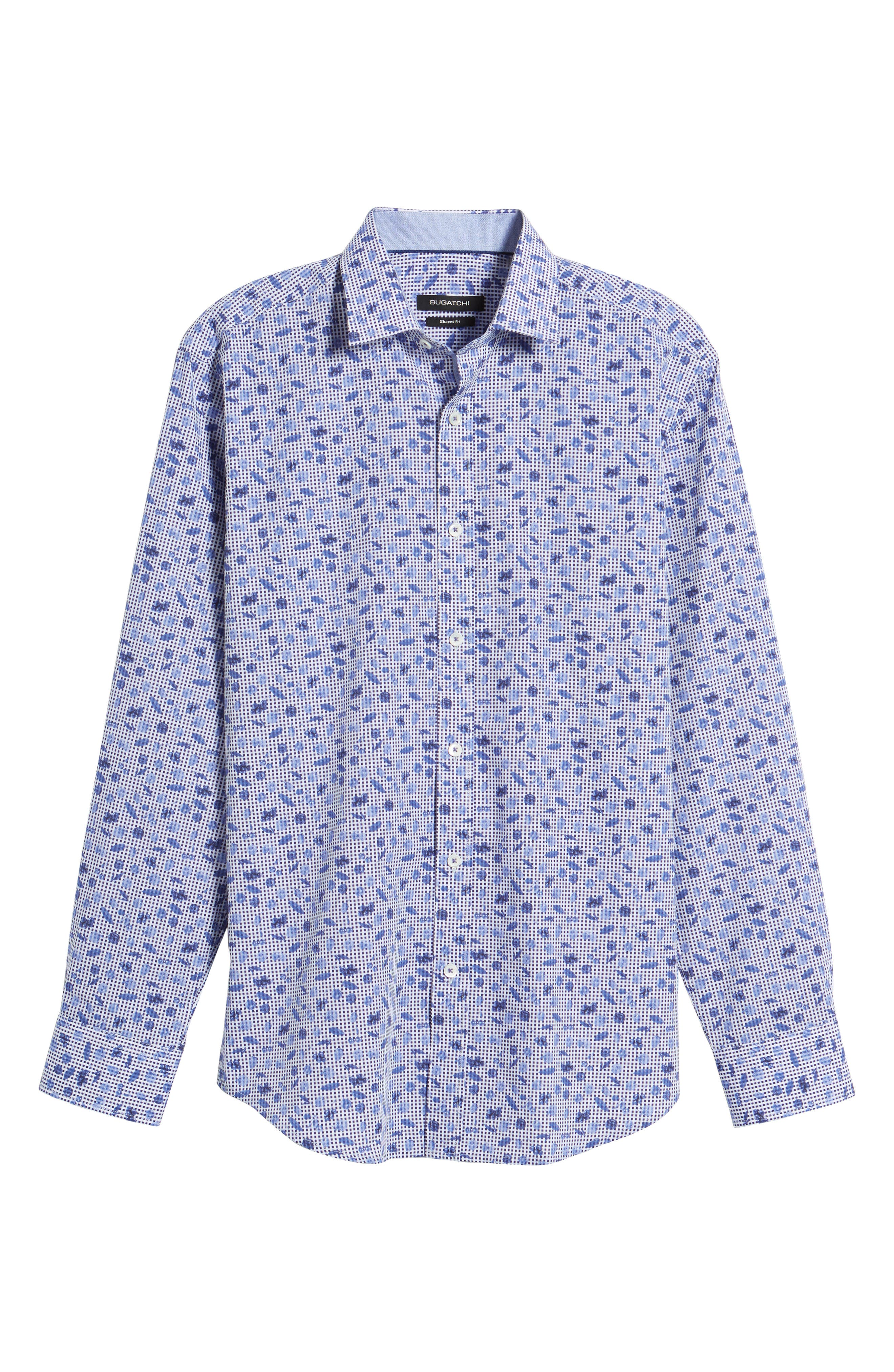 Shaped Fit Print Sport Shirt,                             Alternate thumbnail 6, color,                             Navy