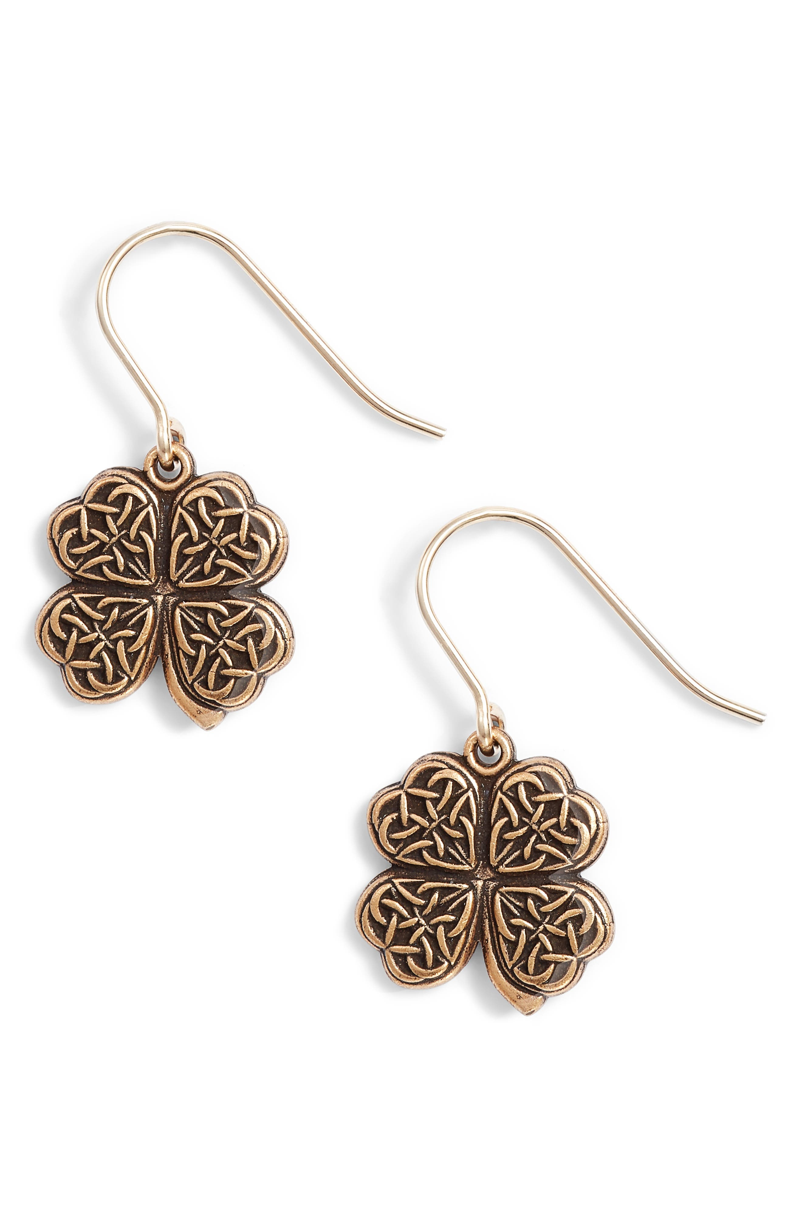 Four Leaf Clover Drop Earrings,                             Main thumbnail 1, color,                             Gold