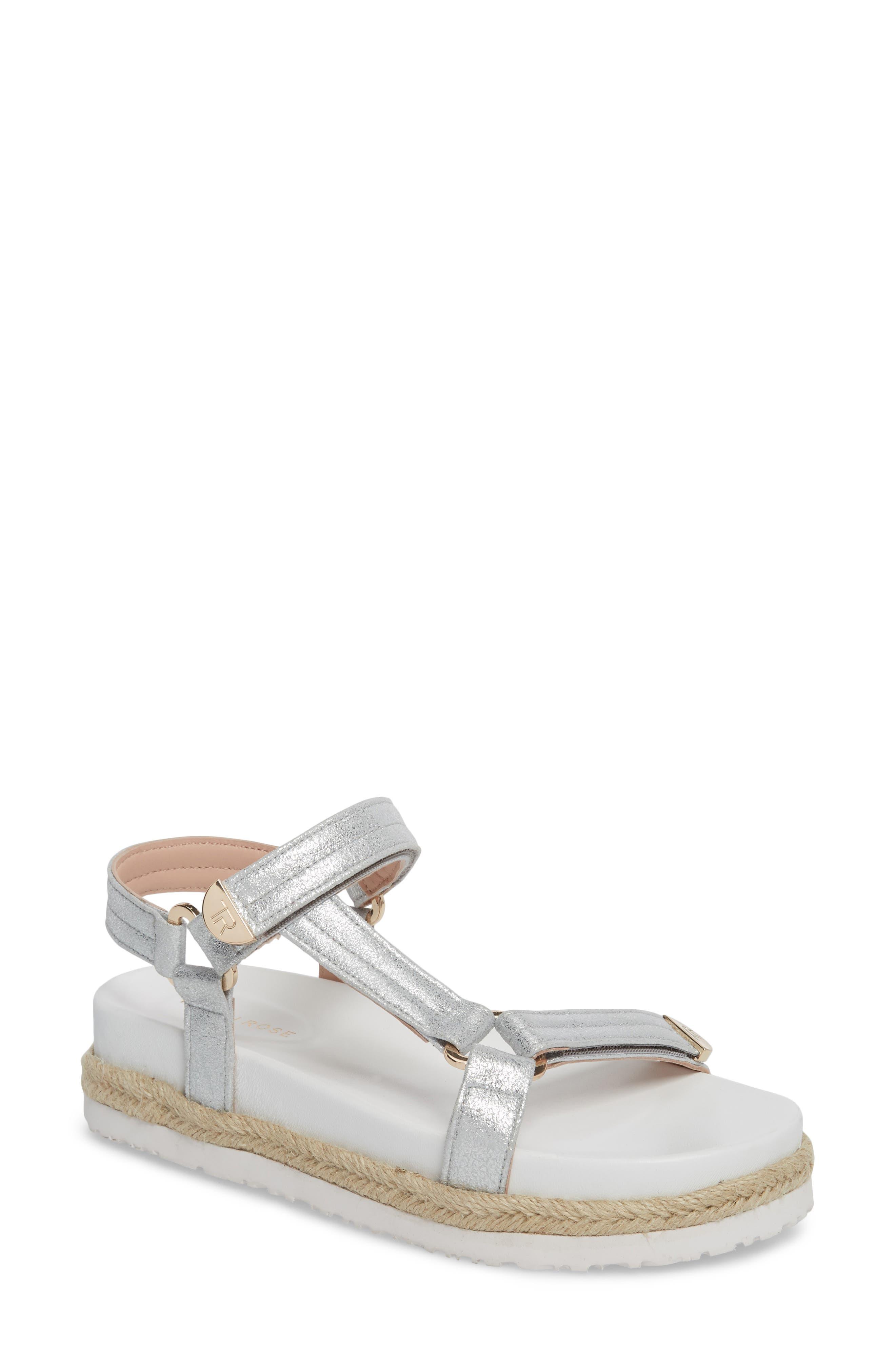 Lydia Platform Sport Sandal,                             Main thumbnail 1, color,                             Silver Leather