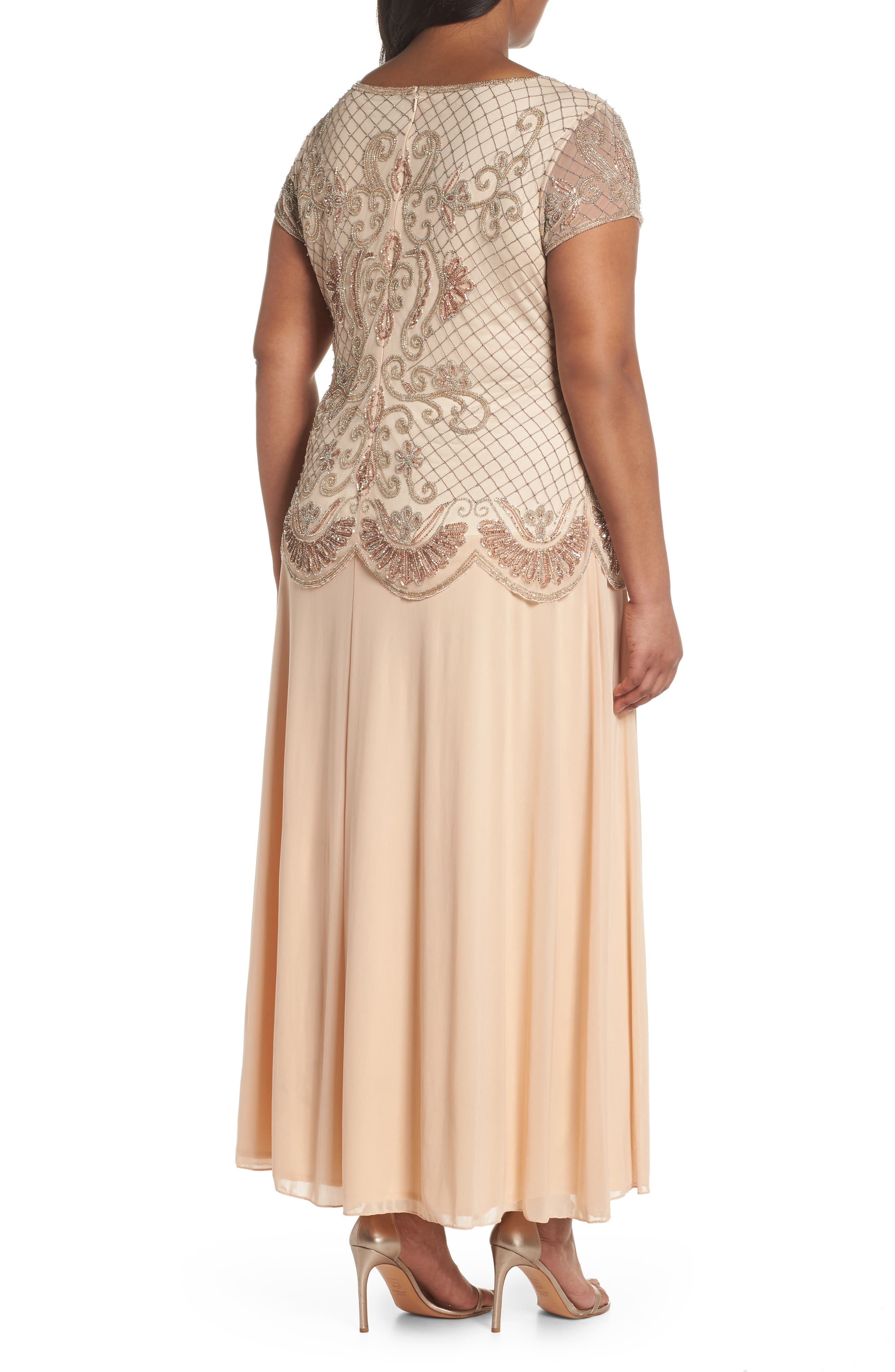 Embellished Mock Two-Piece Gown,                             Alternate thumbnail 2, color,                             Blush