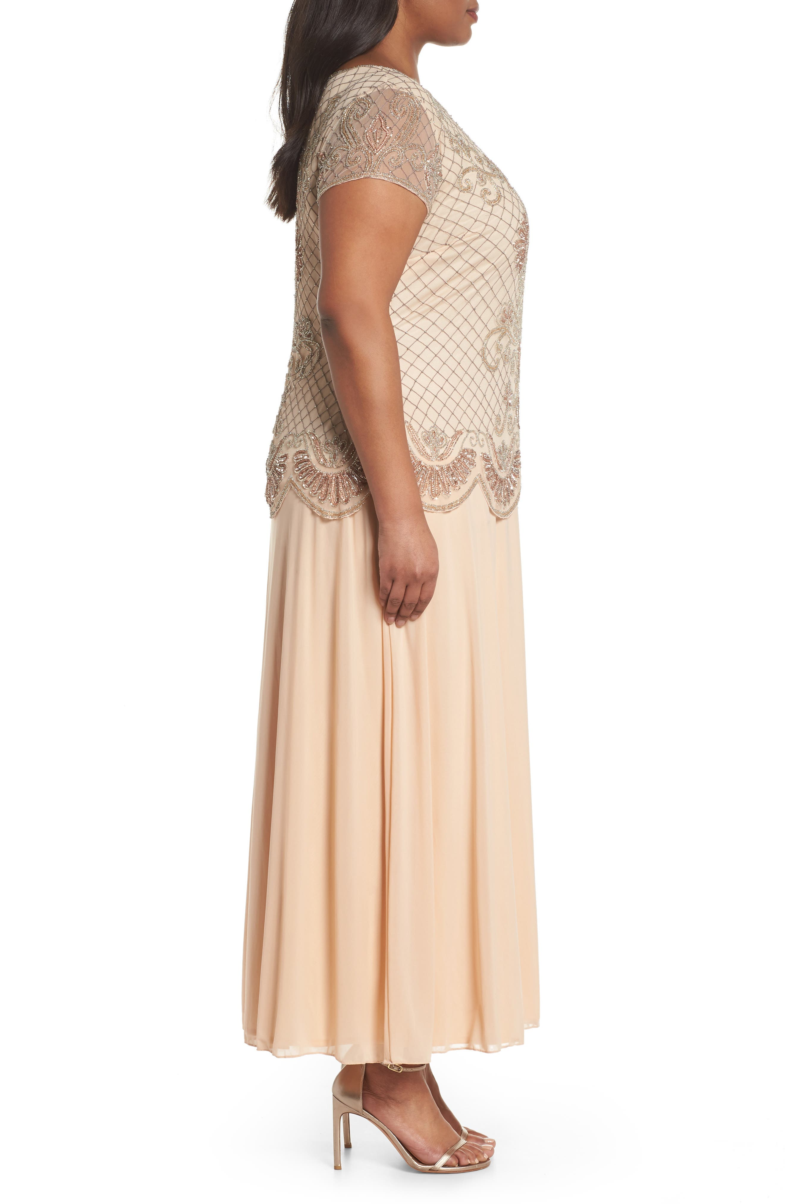 Embellished Mock Two-Piece Gown,                             Alternate thumbnail 3, color,                             Blush
