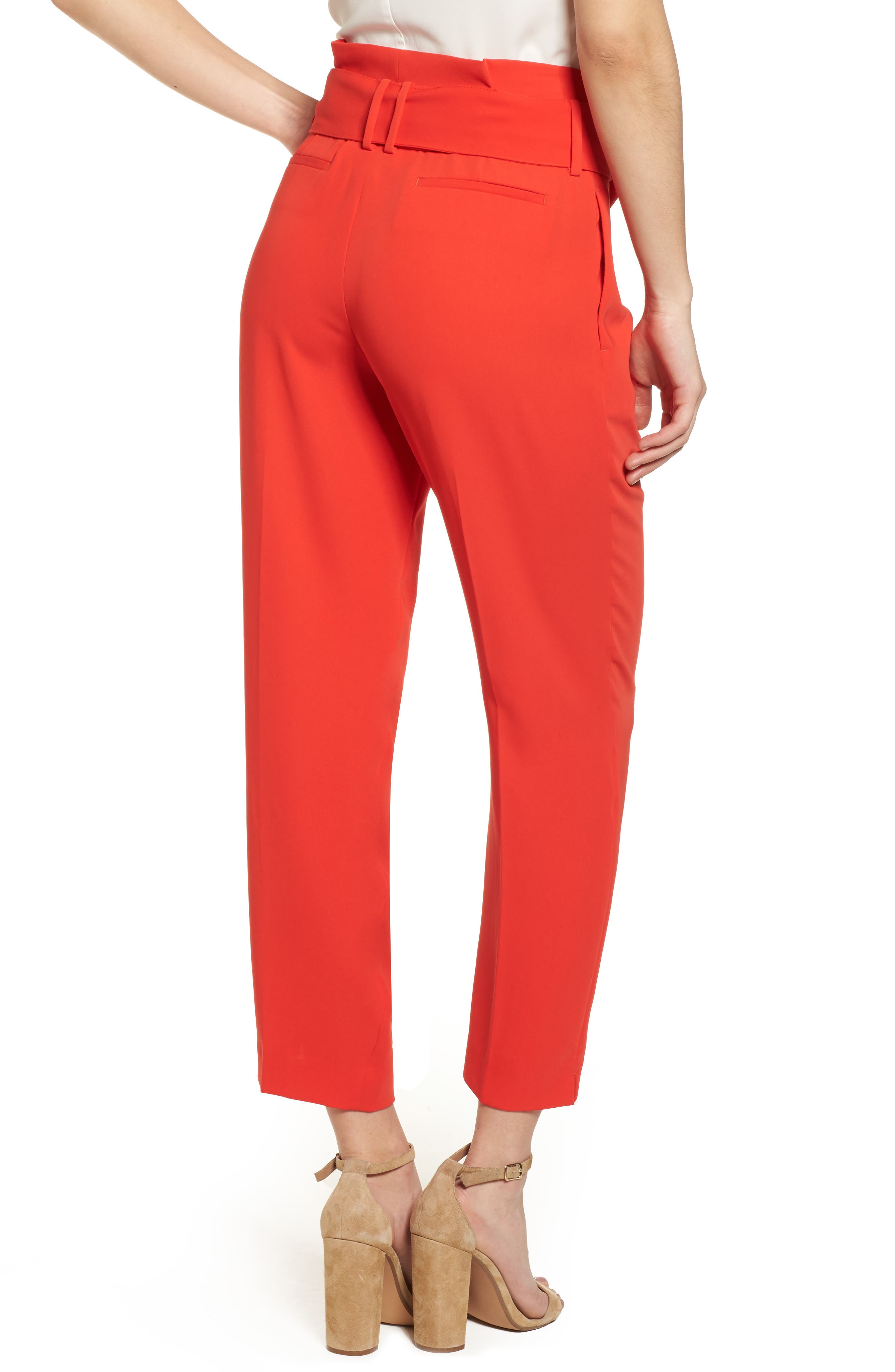 Paperbag Waist Crop Trousers,                             Alternate thumbnail 2, color,                             Red Pop