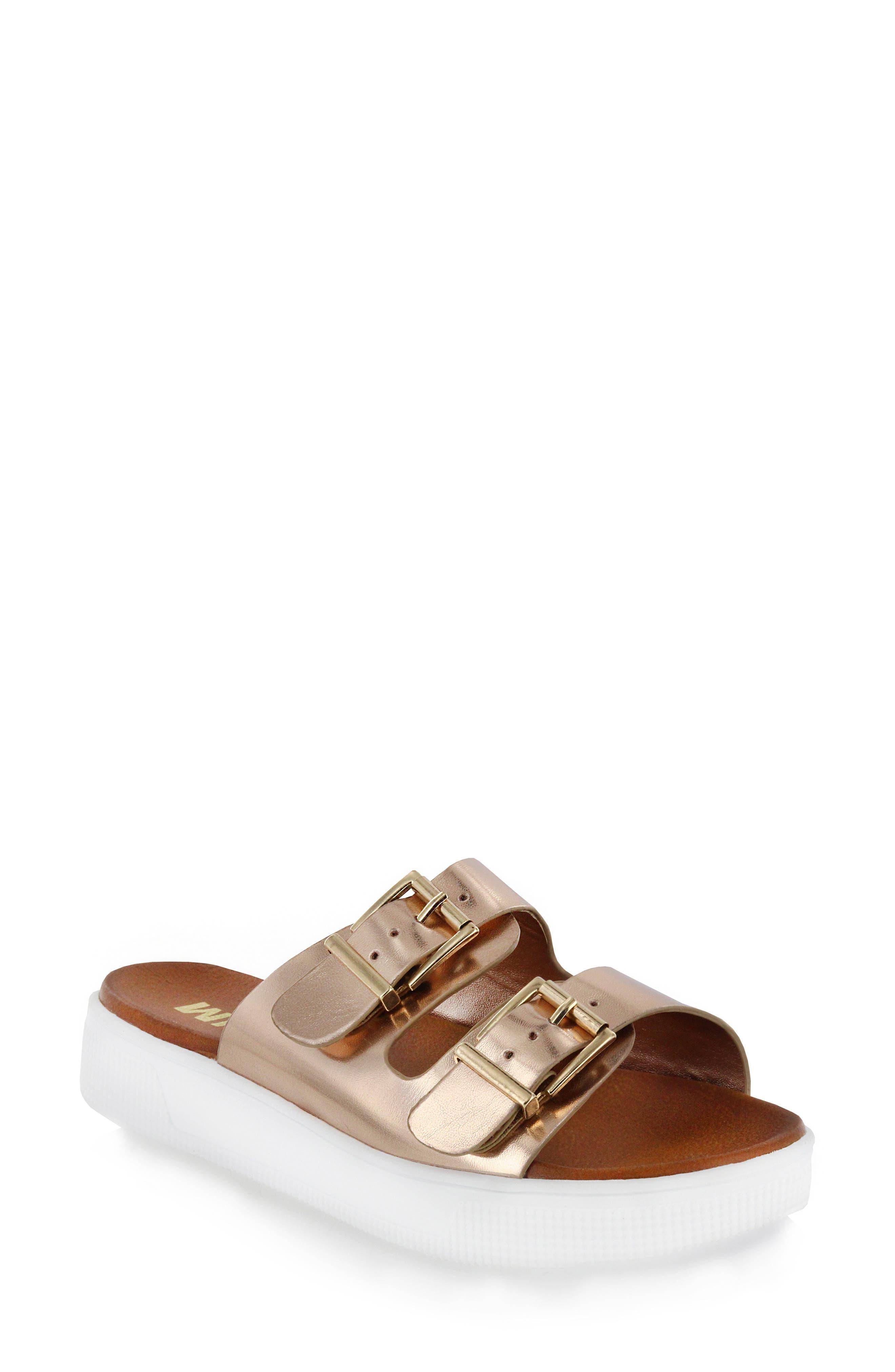 Venessa Platform Slide Sandal,                         Main,                         color, Rose Gold Faux Leather