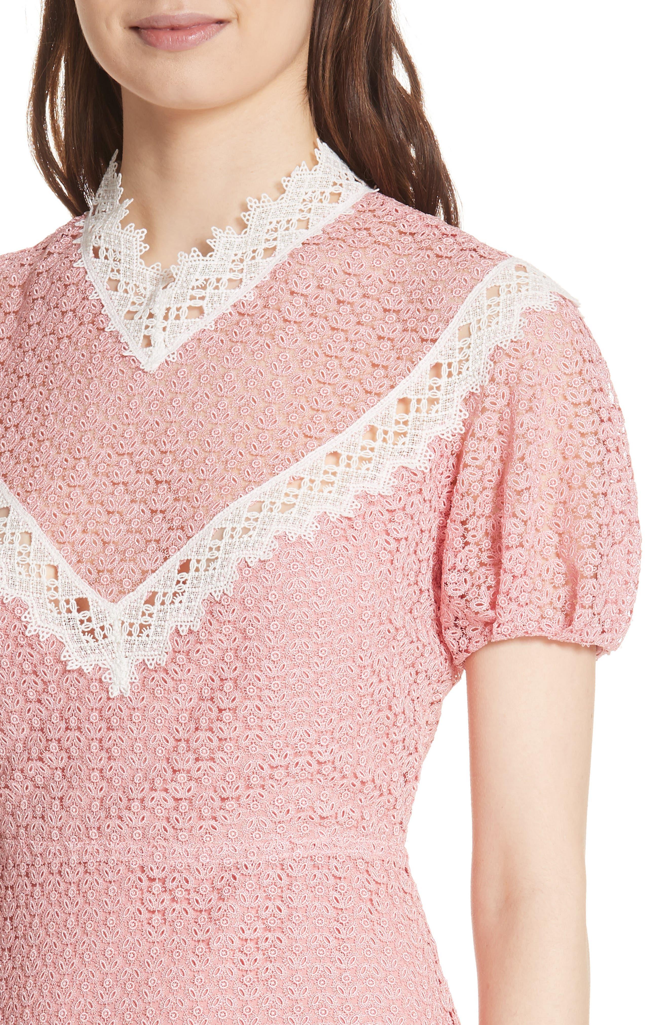 Lace Dress,                             Alternate thumbnail 4, color,                             Peony