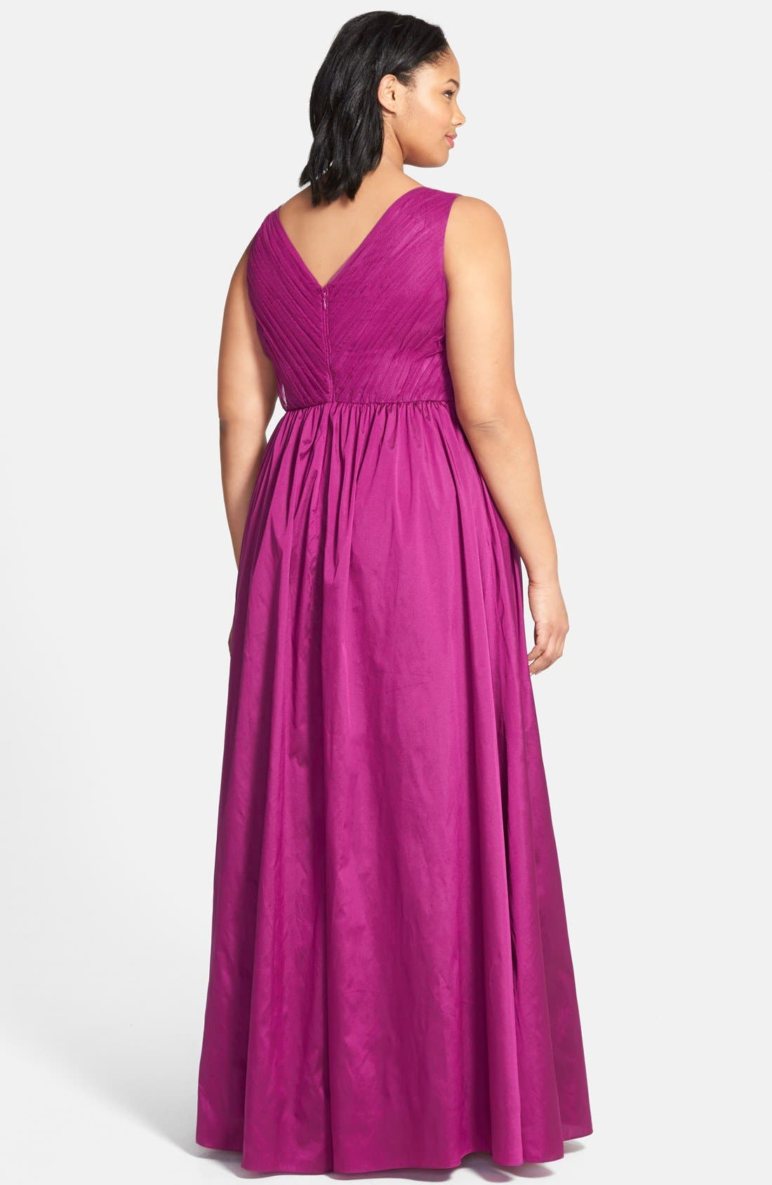 Alternate Image 2  - Adrianna Papell Sleeveless Taffeta & Tulle Gown (Plus Size)