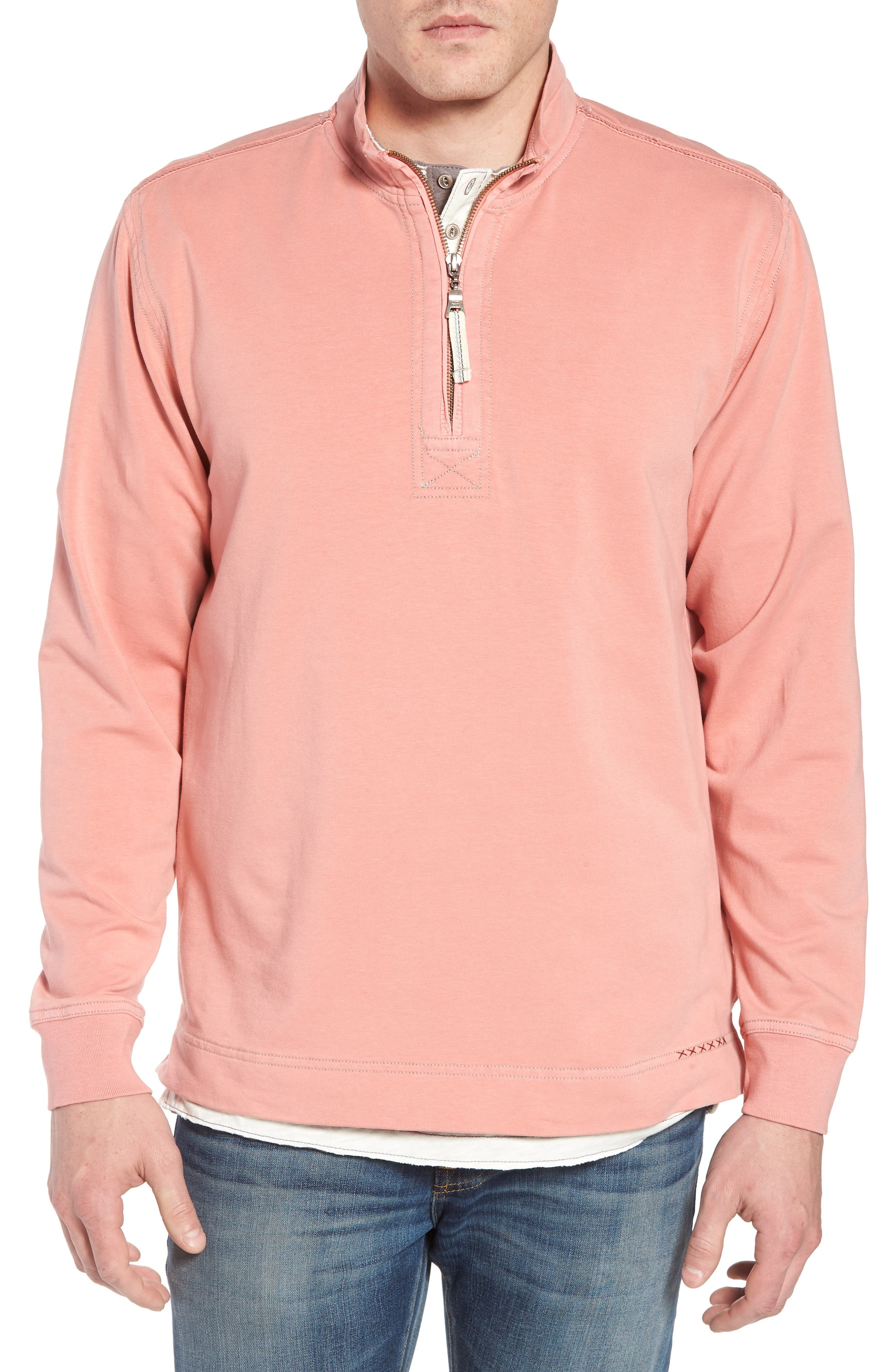 Quarter Zip Fleece Pullover,                         Main,                         color, Coral