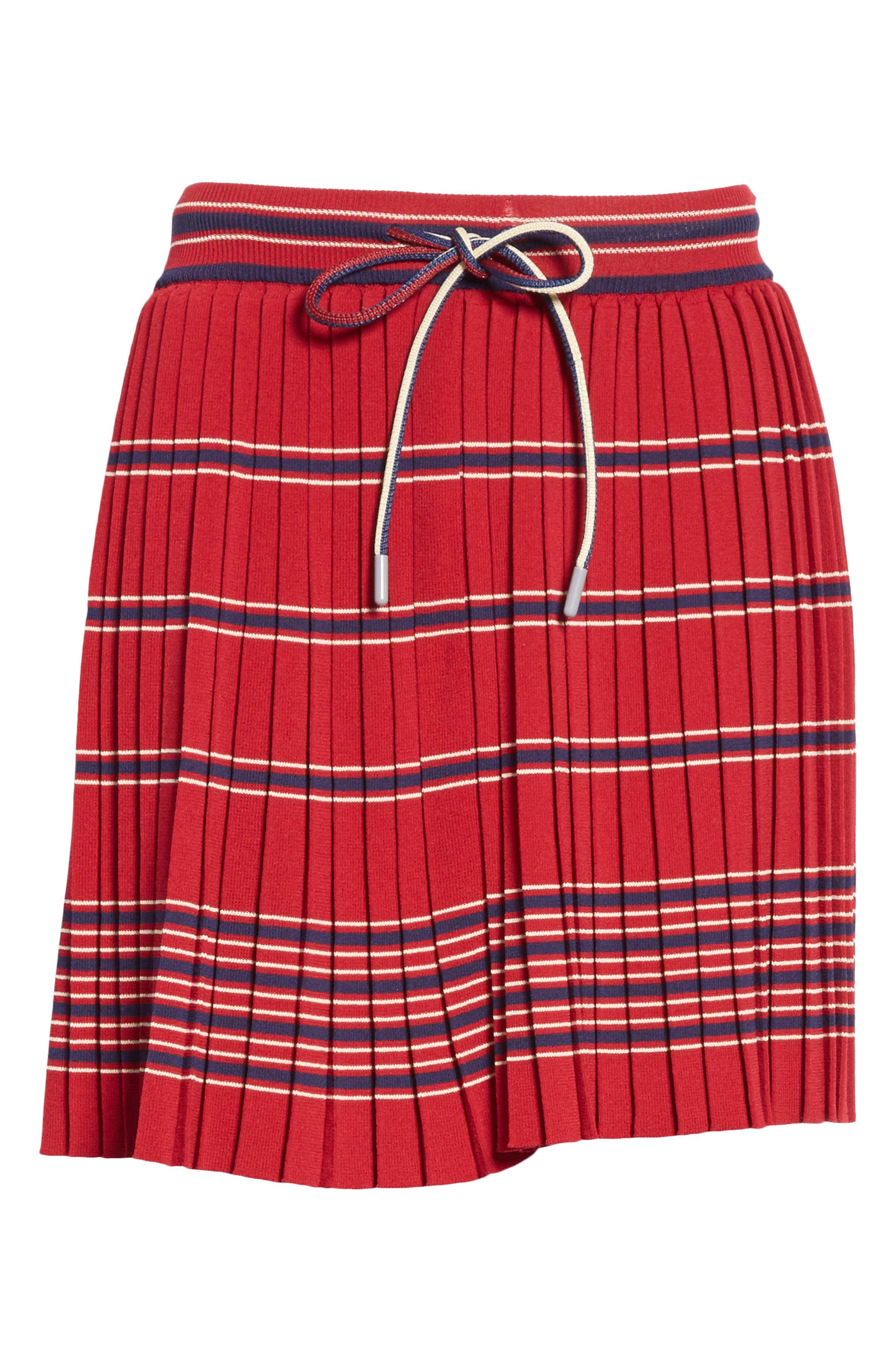 Pleated Miniskirt,                             Alternate thumbnail 7, color,                             Bordeaux