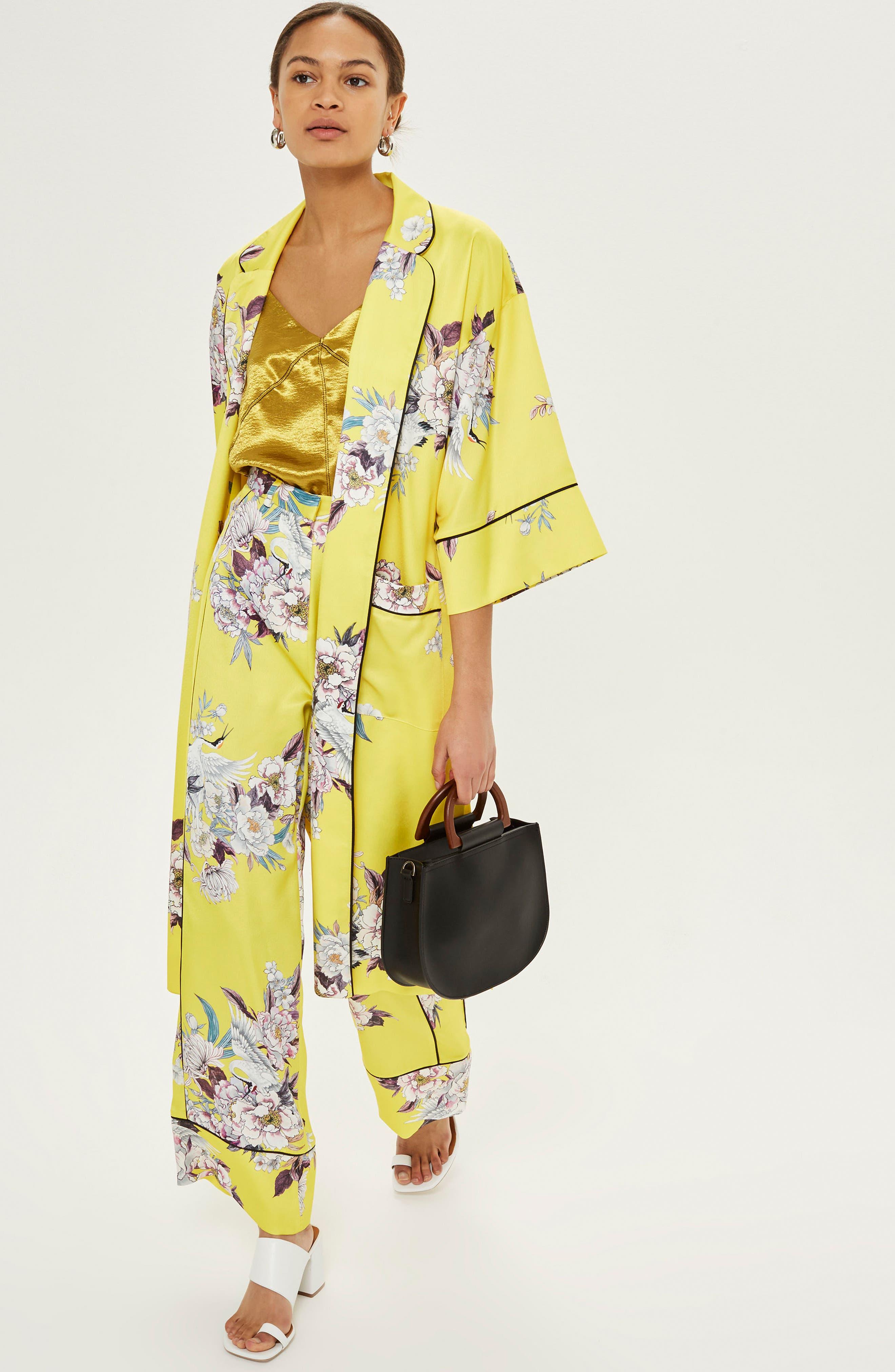 Heron Pajama Wide Leg Trousers,                             Alternate thumbnail 2, color,                             Yellow Multi