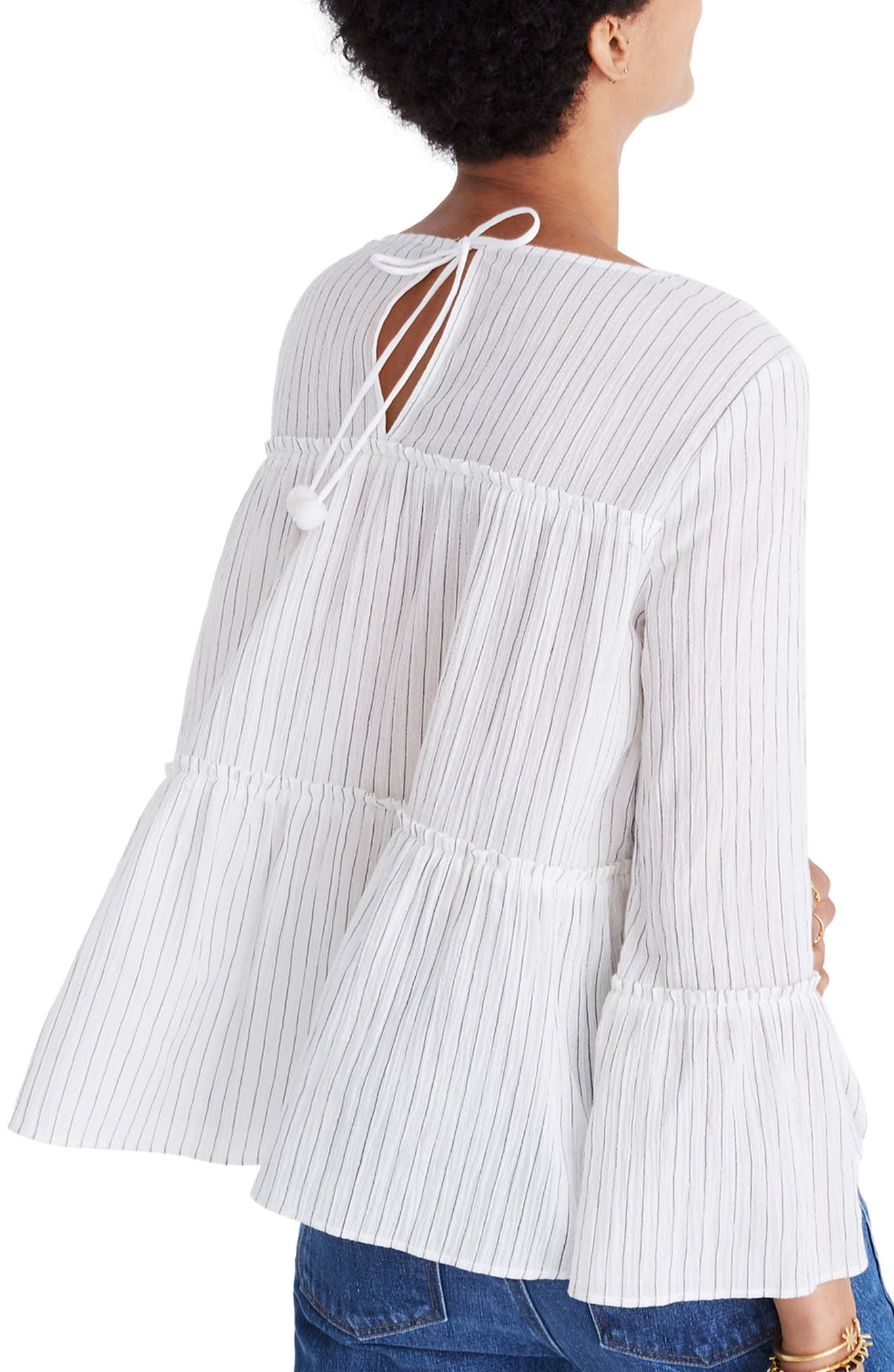 Stripe Tiered Top,                             Alternate thumbnail 2, color,                             White Wash