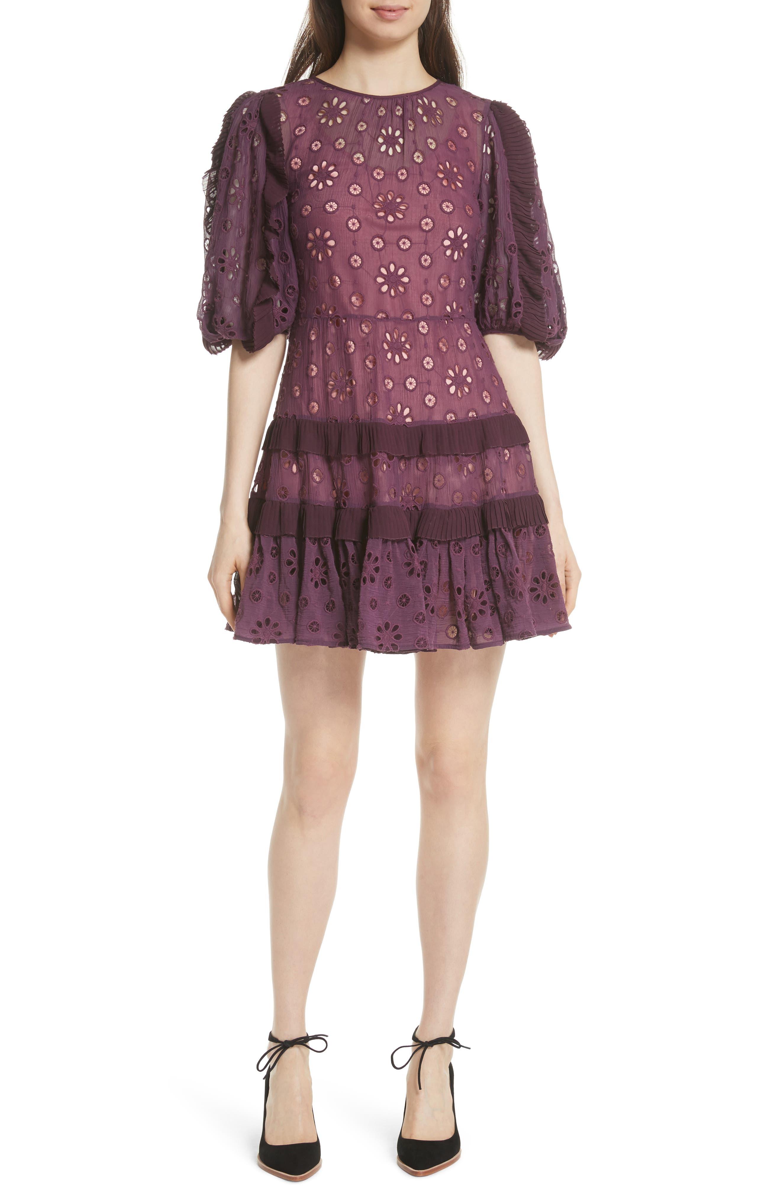 Pinwheel Eyelet Dress,                             Main thumbnail 1, color,                             Plum