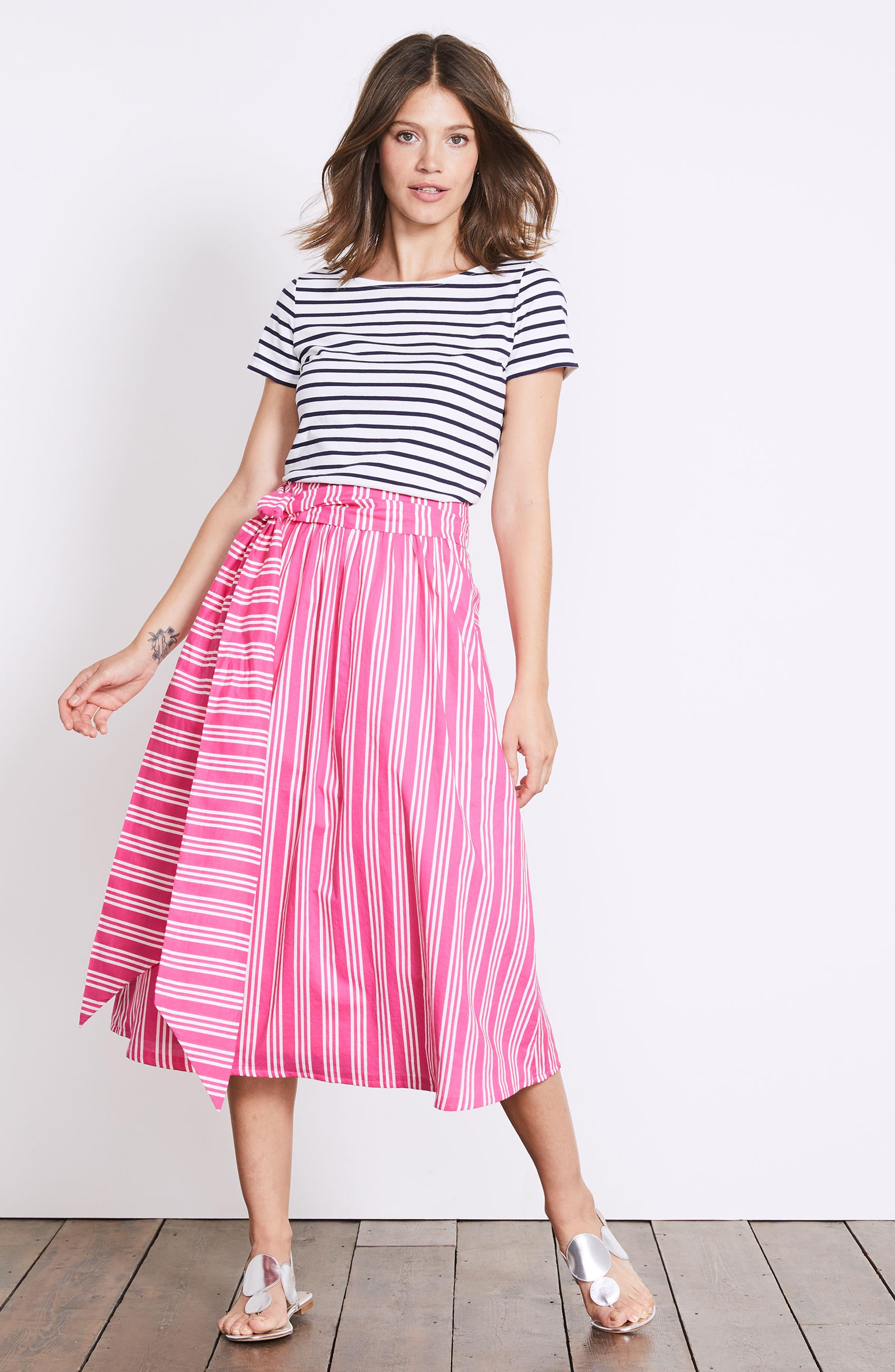 Kiera Midi Skirt,                             Alternate thumbnail 2, color,                             Party Pink And Ecru