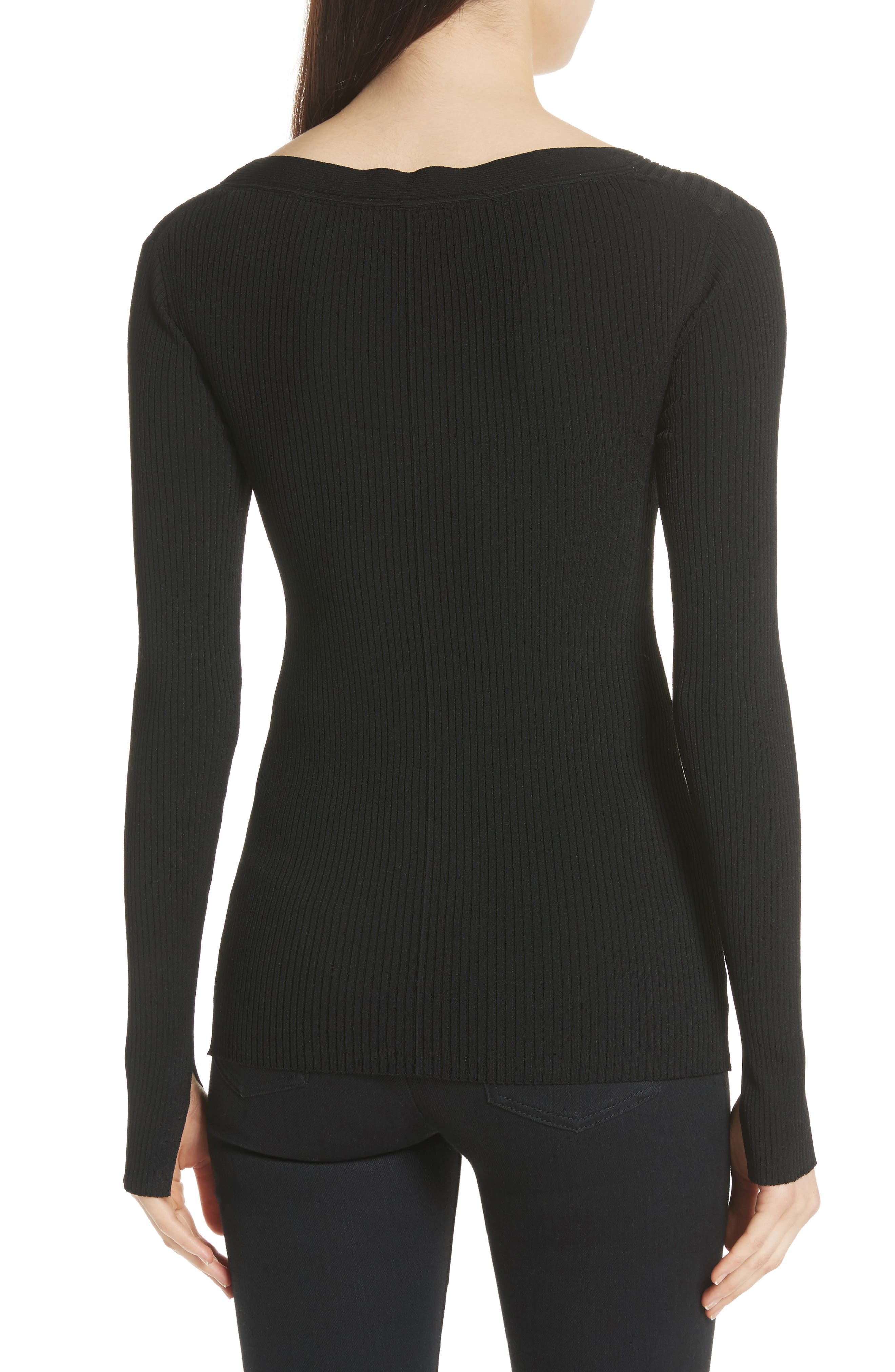 Athena Faux Wrap Sweater,                             Alternate thumbnail 2, color,                             Black Onyx