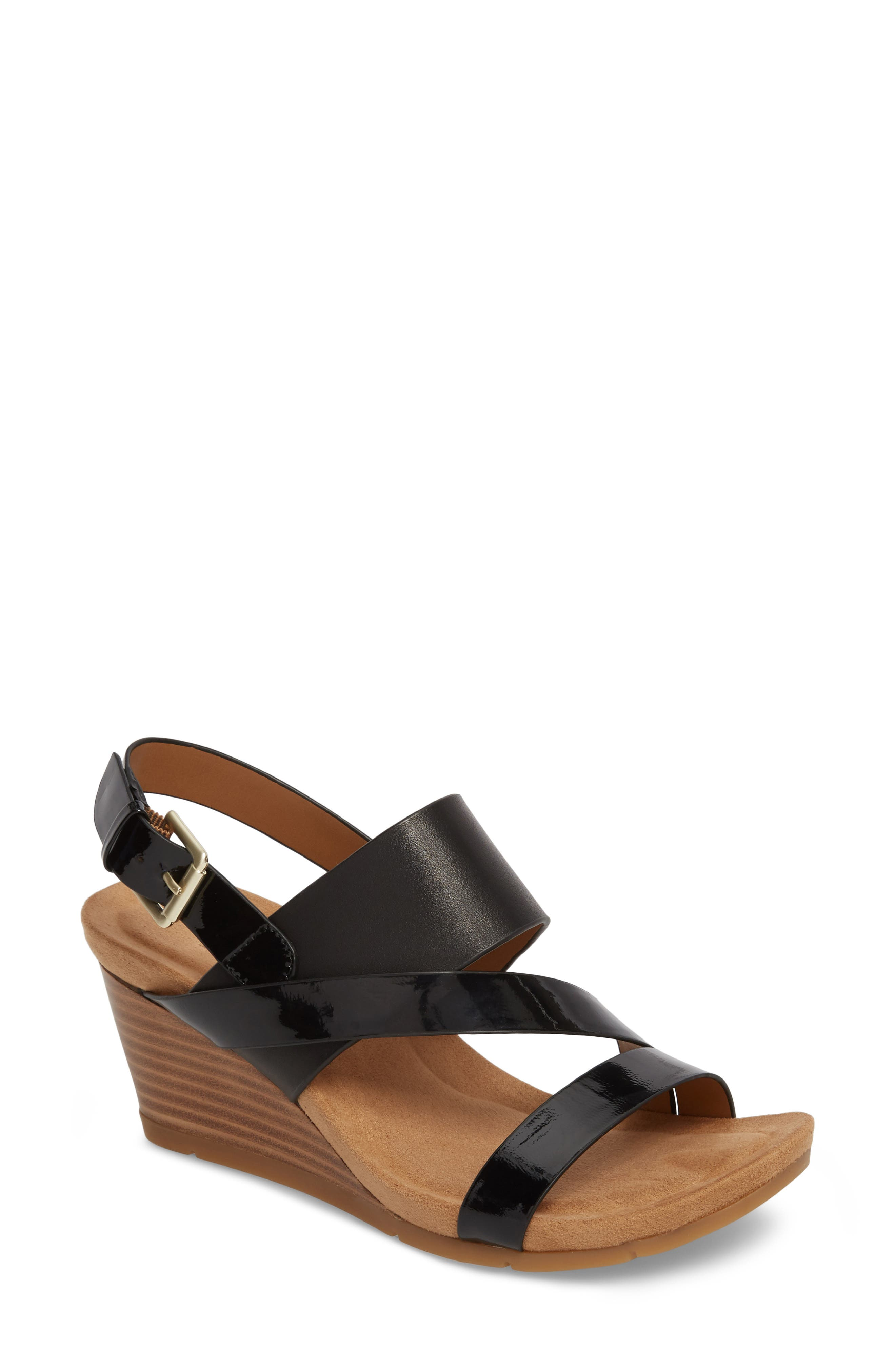 Vail Wedge Sandal,                             Main thumbnail 1, color,                             Black Leather