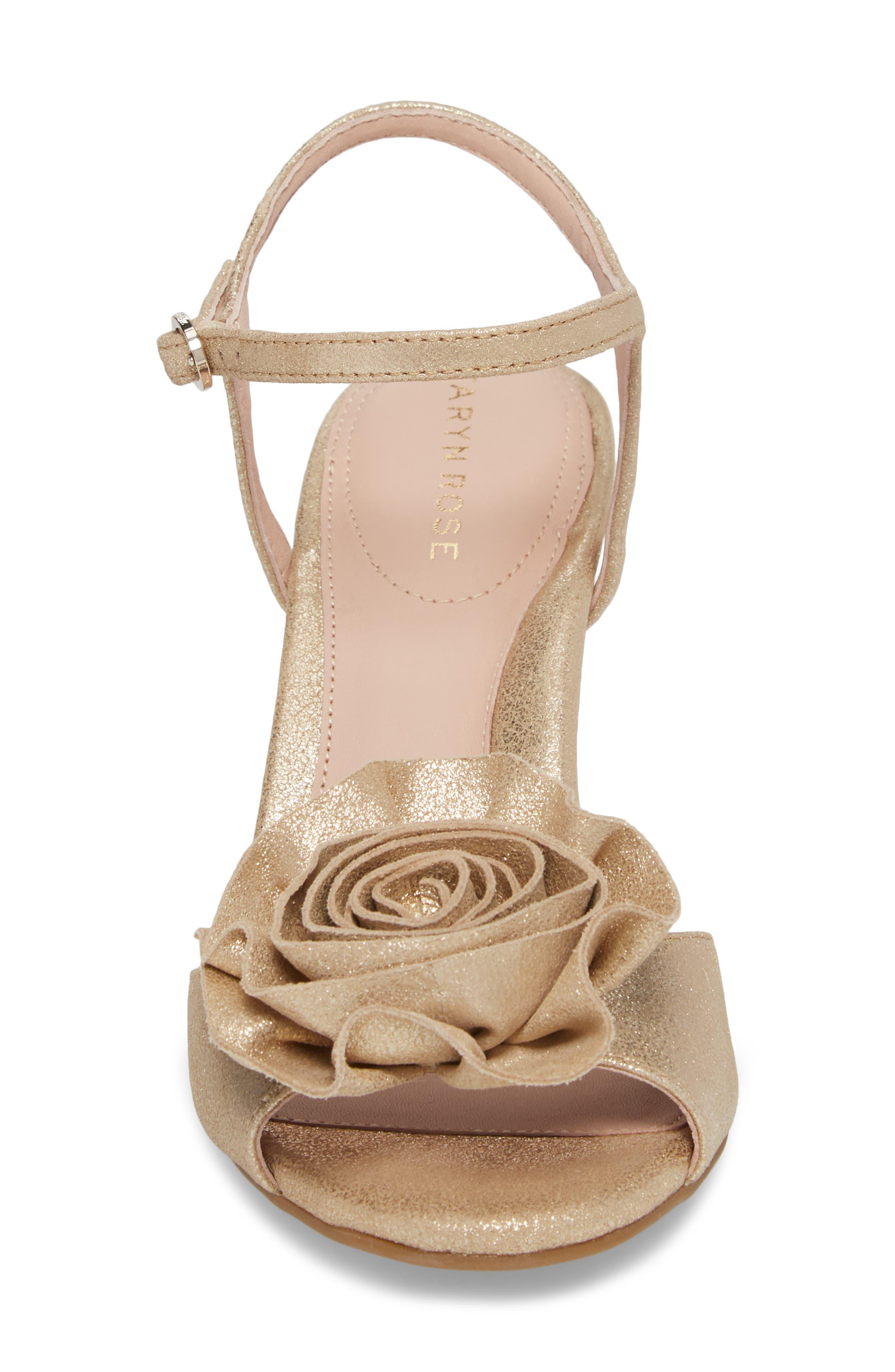 Jacklyn Flower Sandal,                             Alternate thumbnail 4, color,                             Gold Shimmer Fabric