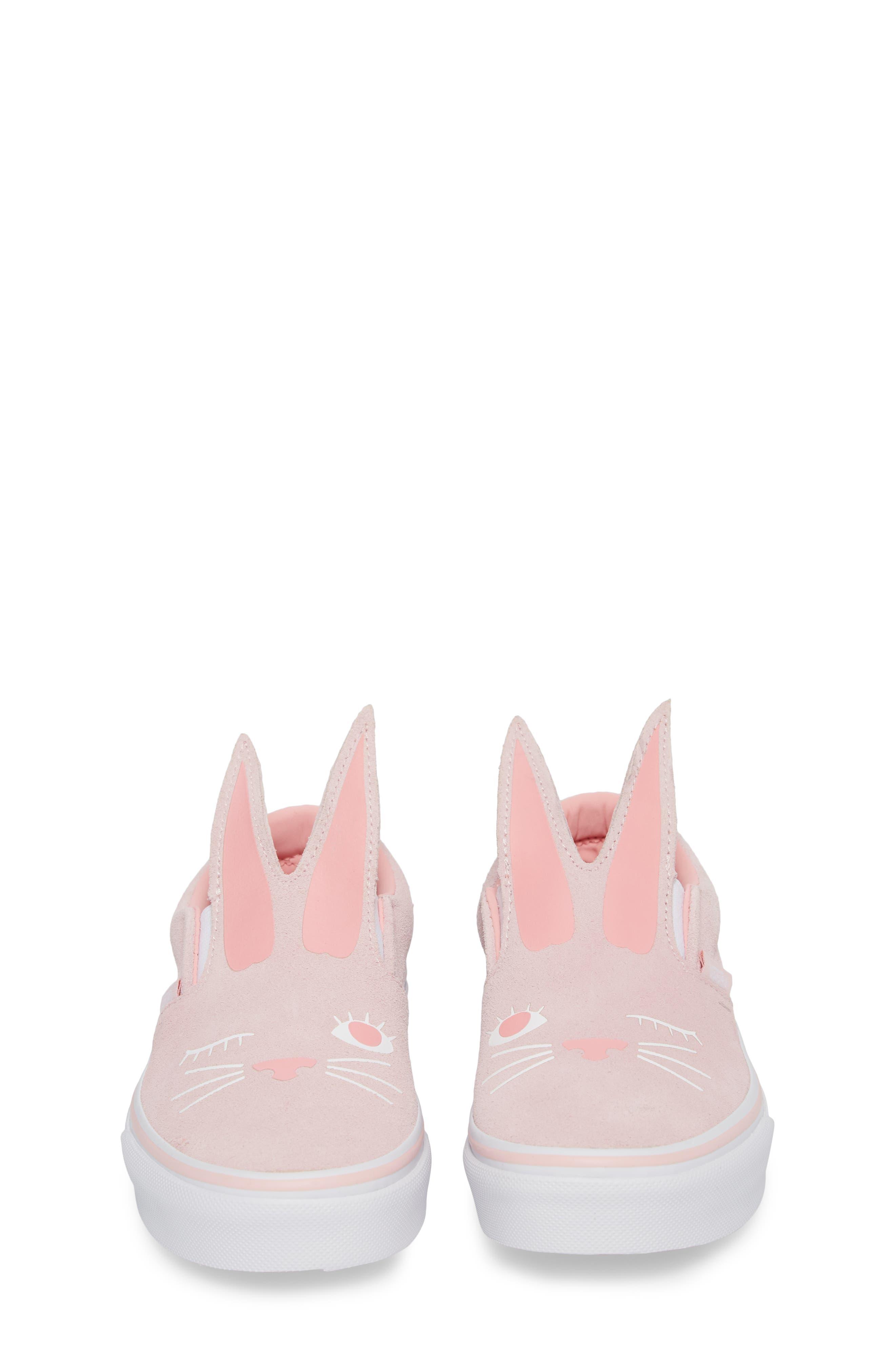 Slip-On Bunny Sneaker,                             Alternate thumbnail 5, color,                             Chalk Pink/ True White
