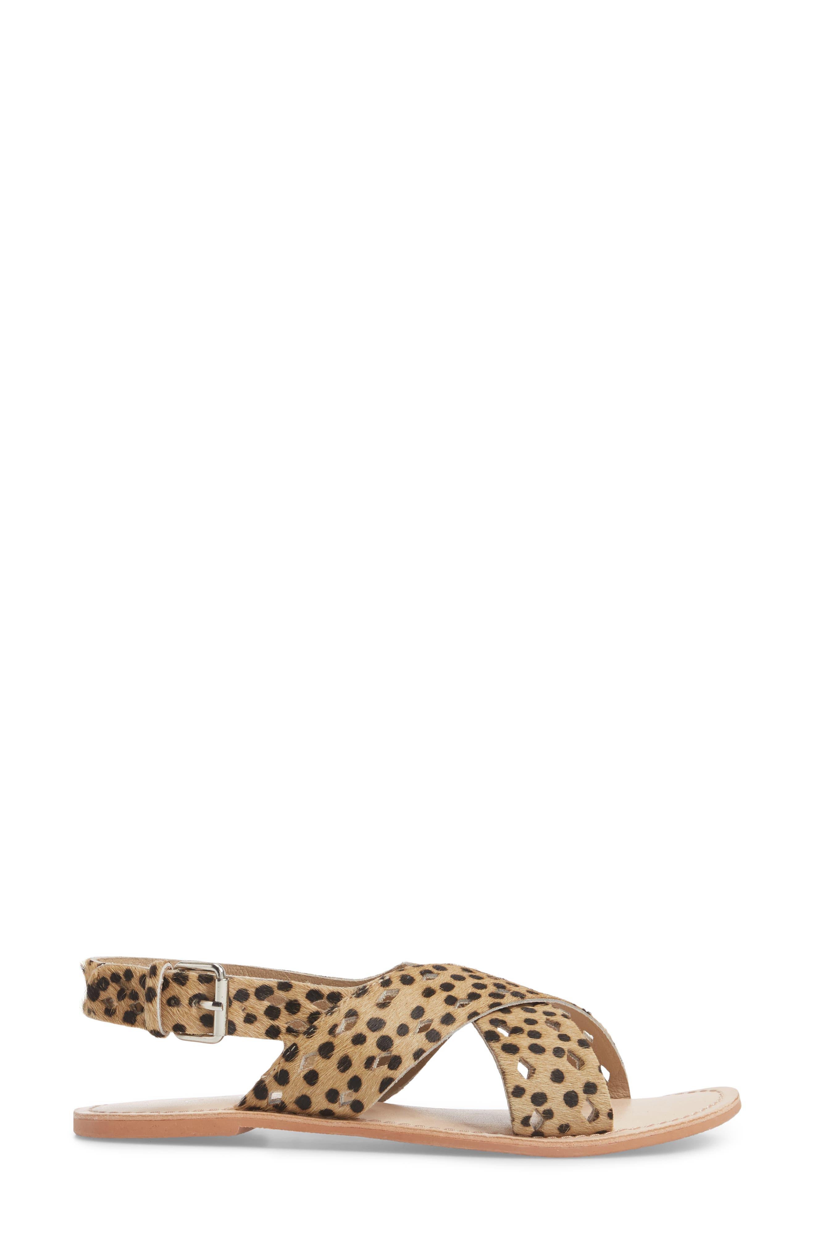 Whistler Genuine Calf Hair Sandal,                             Alternate thumbnail 3, color,                             Leopard
