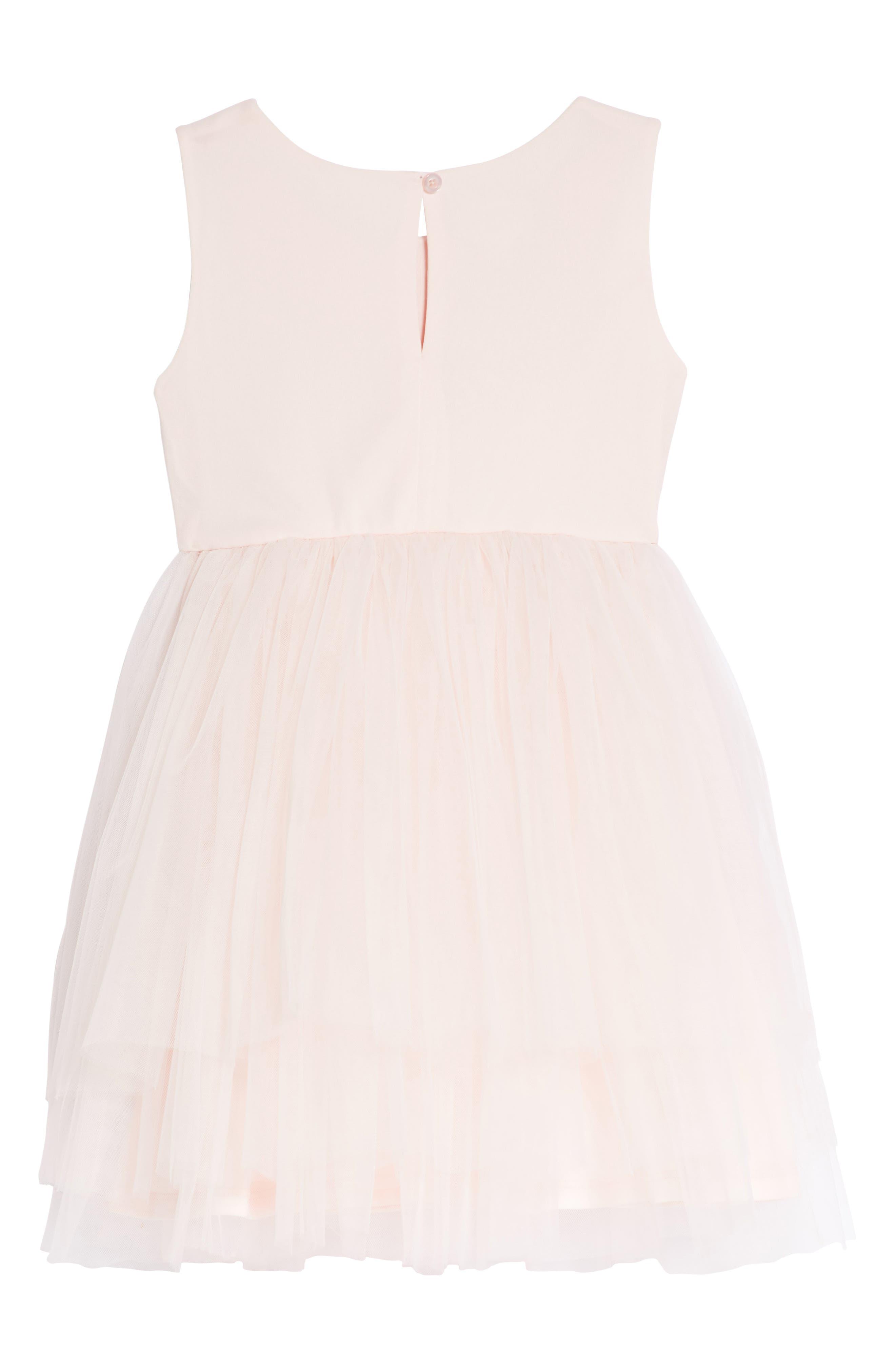 Rose Jacquard Fit & Flare Dress,                             Alternate thumbnail 2, color,                             Light Pink