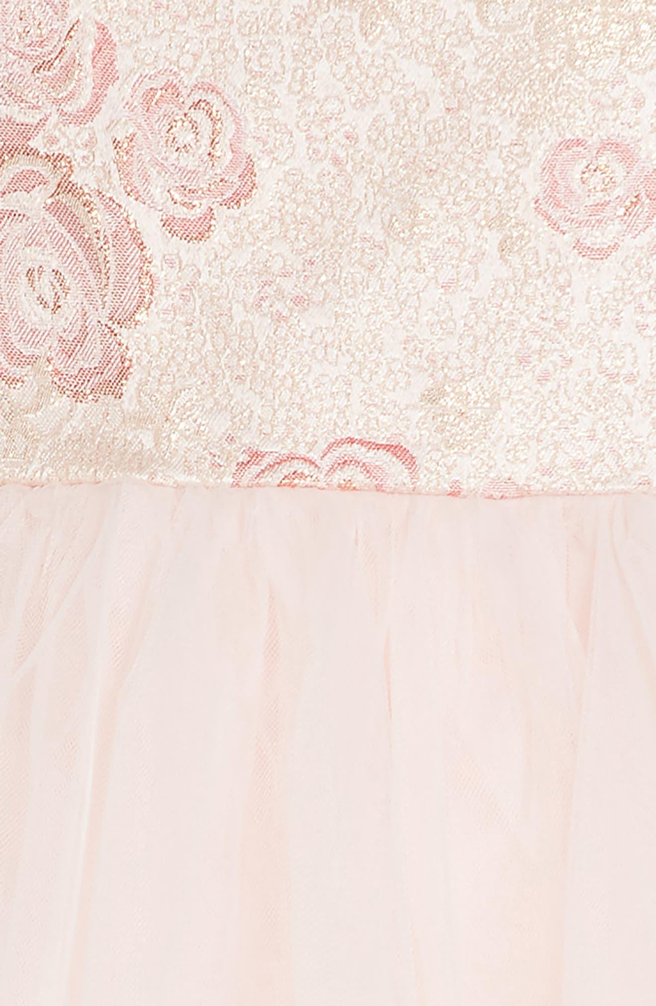 Rose Jacquard Fit & Flare Dress,                             Alternate thumbnail 3, color,                             Light Pink