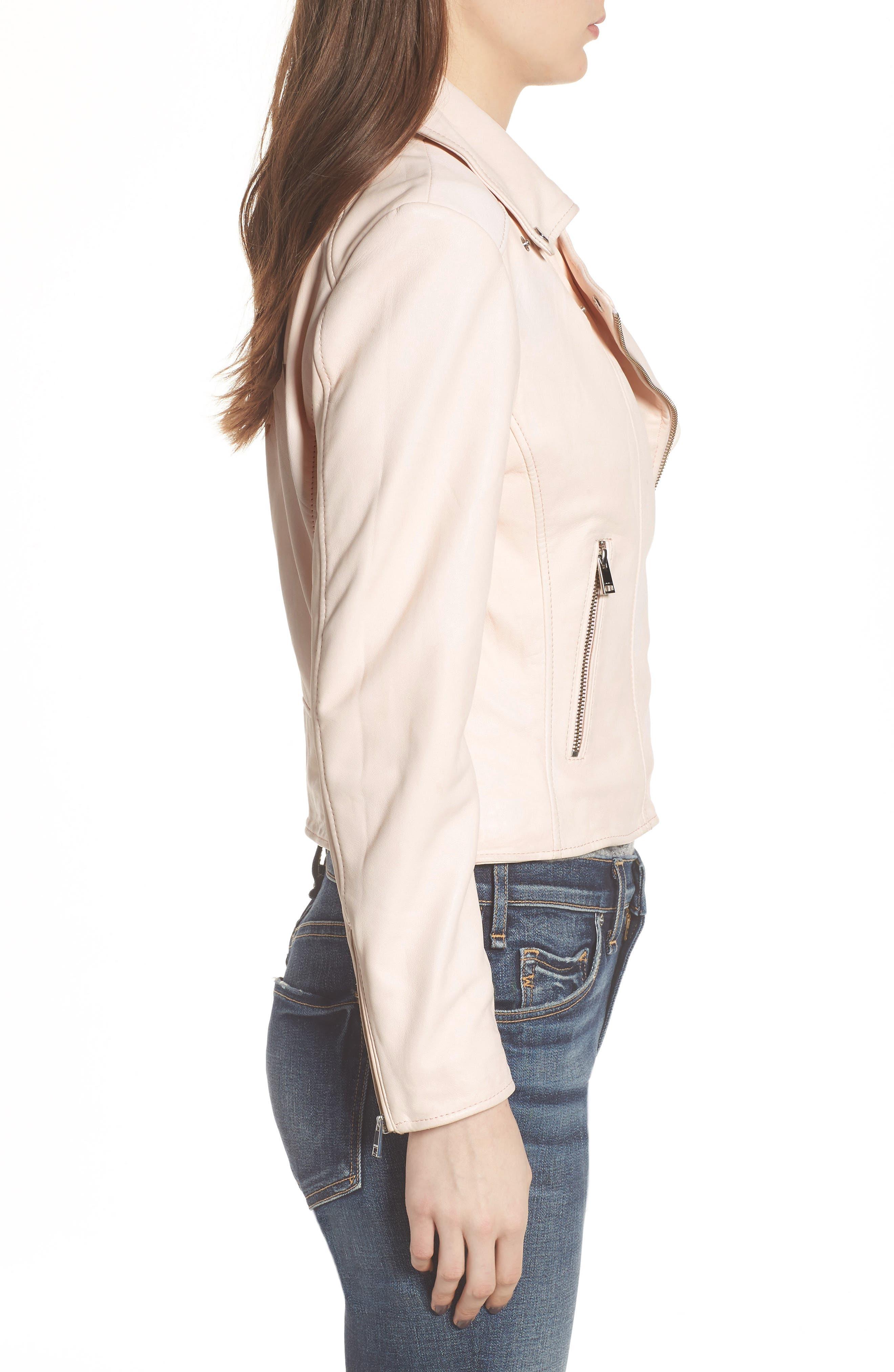 Eco-Friendly Leather Moto Jacket,                             Alternate thumbnail 3, color,                             Light Pink