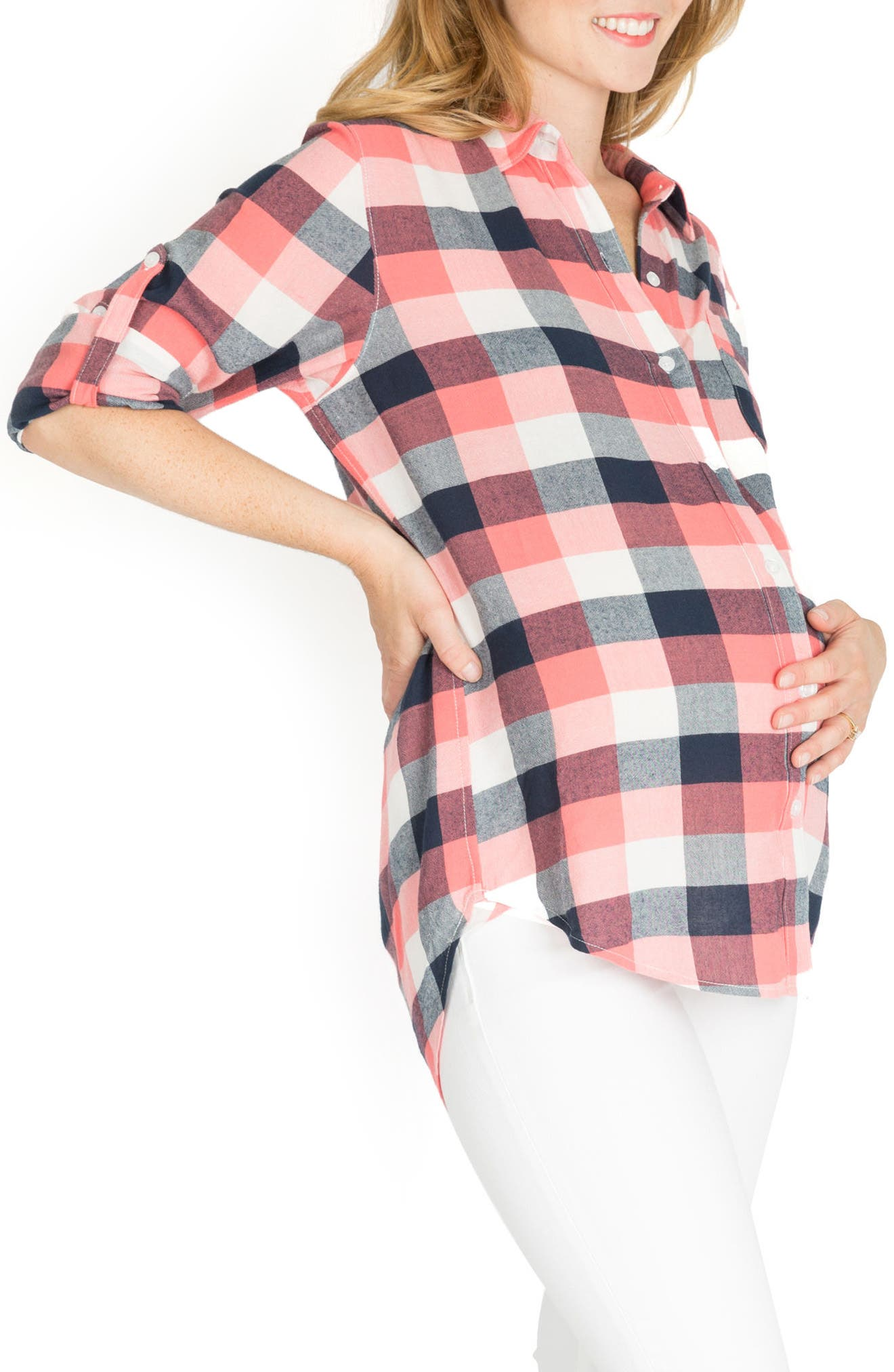 Sadie Maternity/Nursing Shirt,                             Alternate thumbnail 3, color,                             Pink Plaid