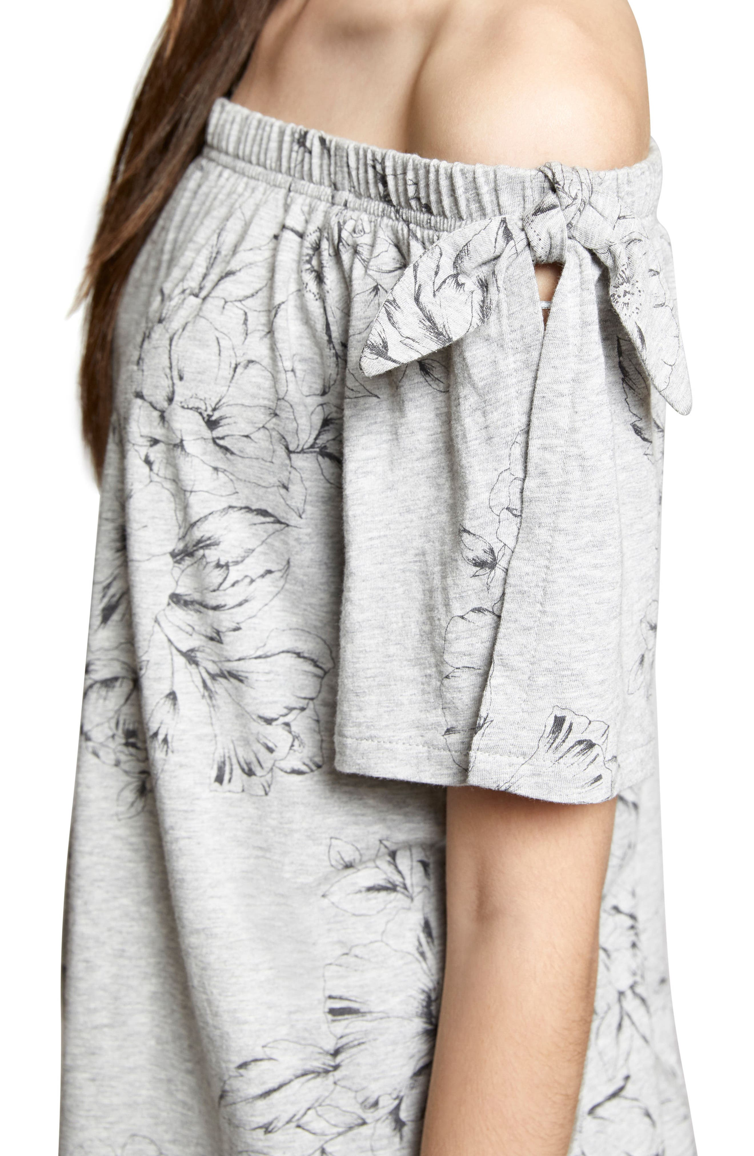 Riviera Off the Shoulder Tie Sleeve Top,                             Alternate thumbnail 4, color,                             Hibiscus/ Heather Grey