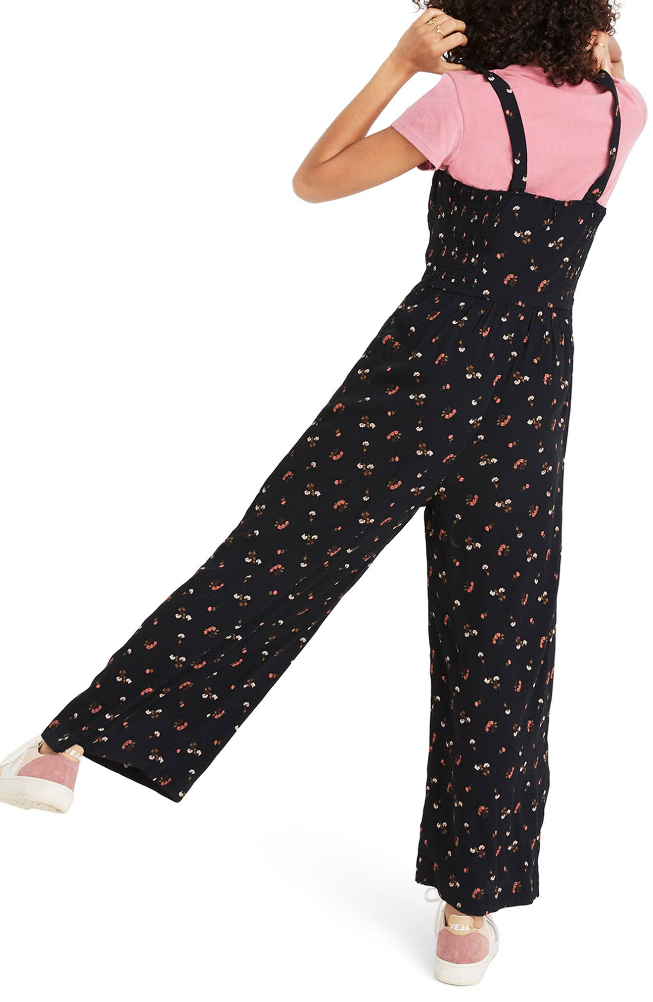 Flower Toss Smocked Crop Jumpsuit,                             Alternate thumbnail 2, color,                             Vine True Black