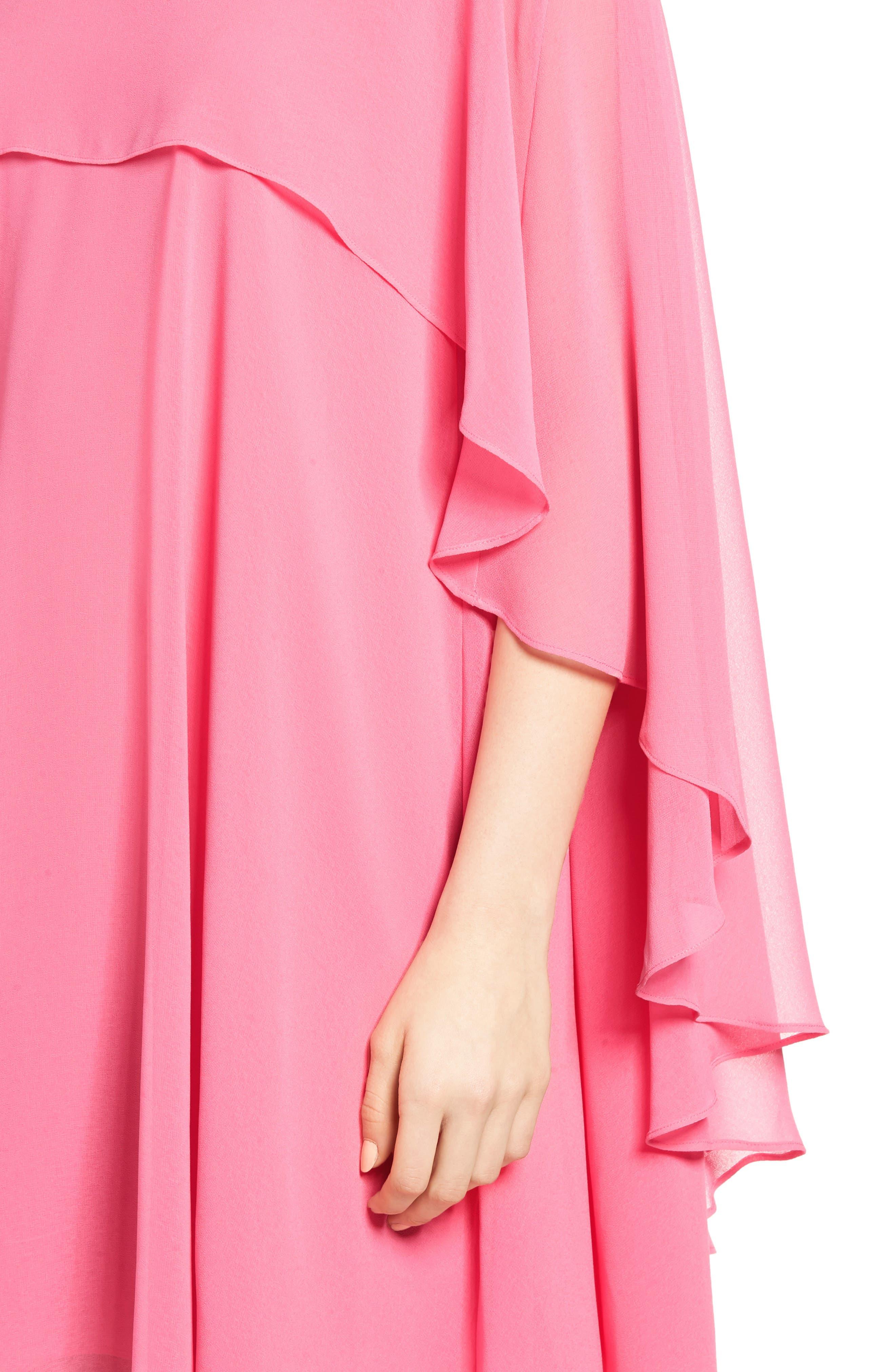 A-Line Chiffon Dress,                             Alternate thumbnail 4, color,                             Pink Zenna