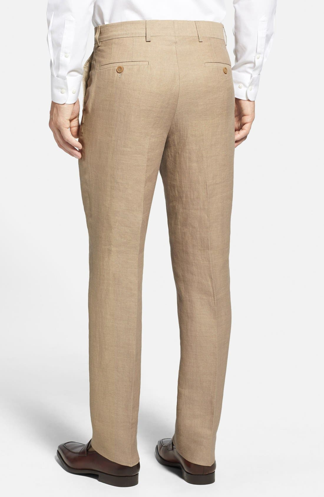 Alternate Image 2  - Linea Naturale Updated Flat Front Linen Trousers