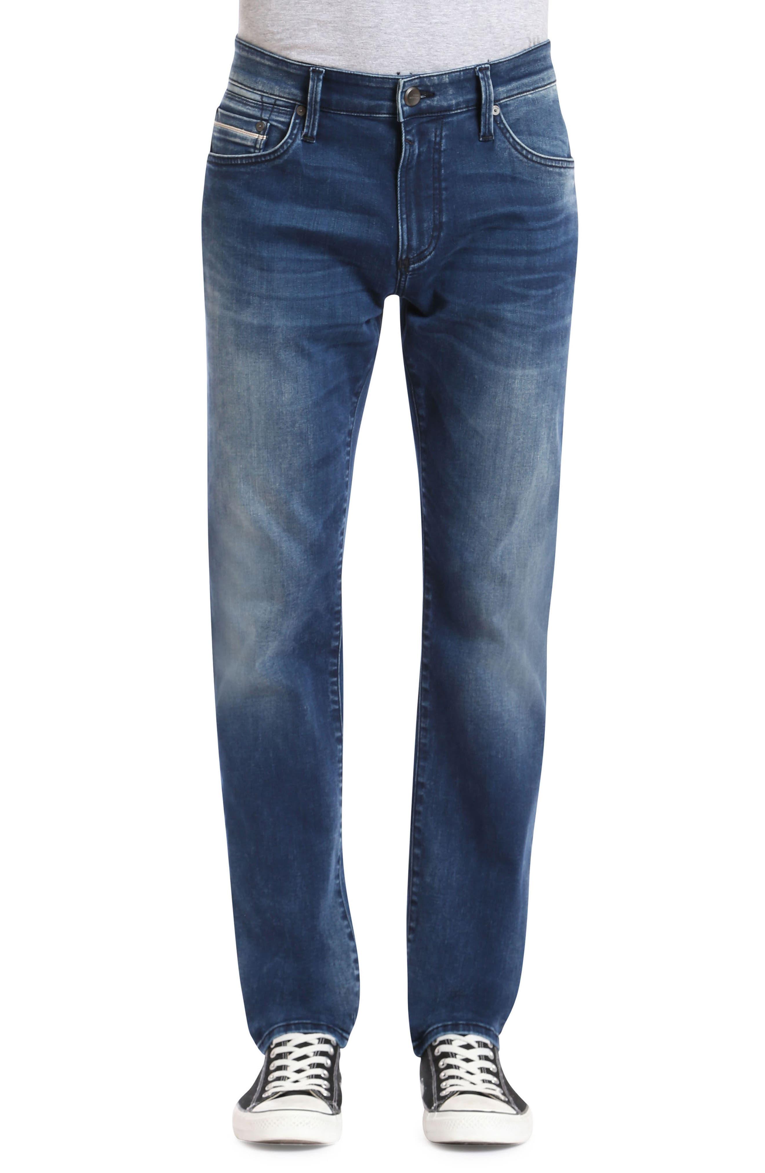 Marcus Slim Straight Leg Jeans,                         Main,                         color, Forest Blue White Edge