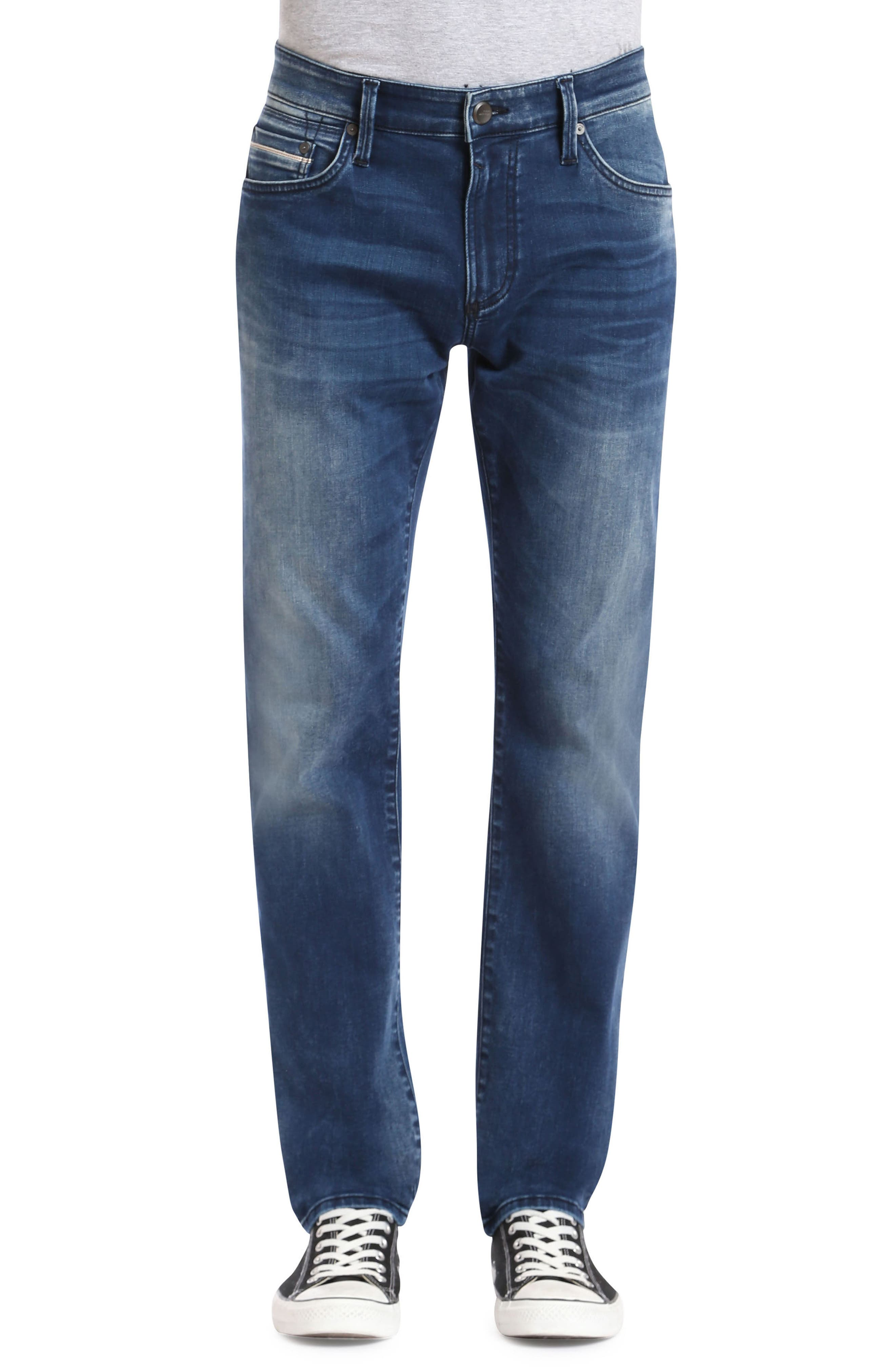 Marcus Slim Straight Leg Jeans,                         Main,                         color, Forest Blue White Edge