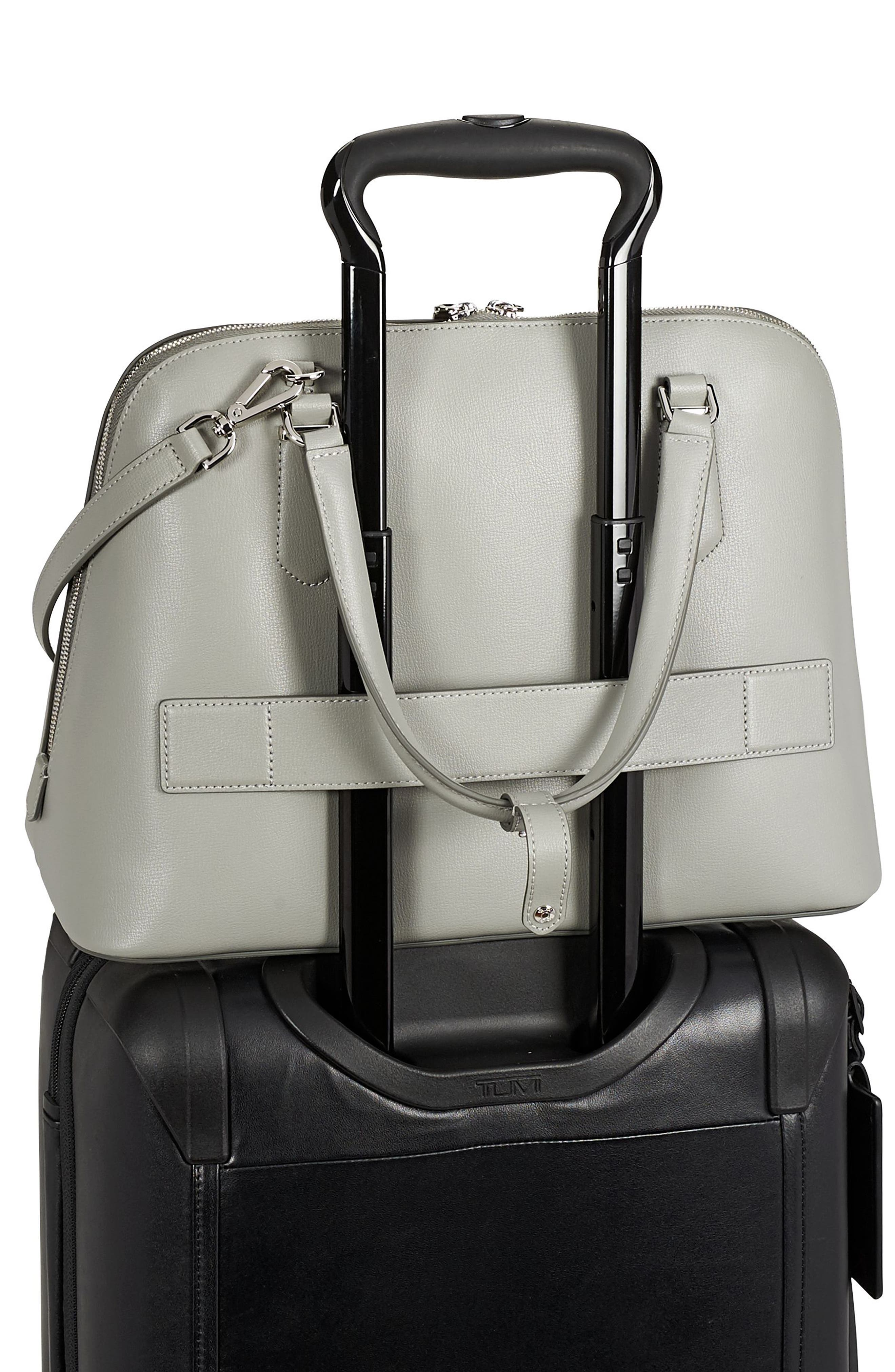 Stanton – Deonne Domed Leather Satchel,                             Alternate thumbnail 5, color,                             Light Grey
