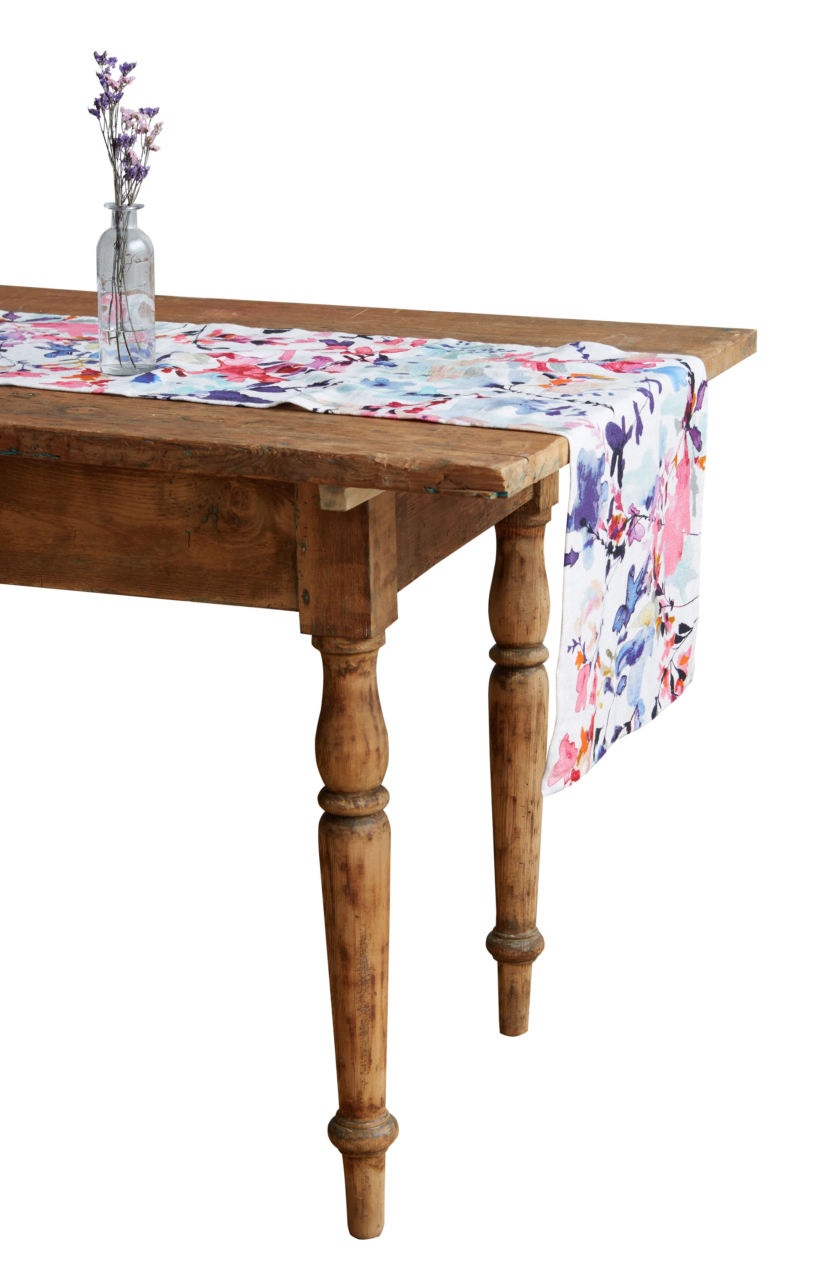 Wildflower Study Table Runner,                             Alternate thumbnail 3, color,                             Pink Multi