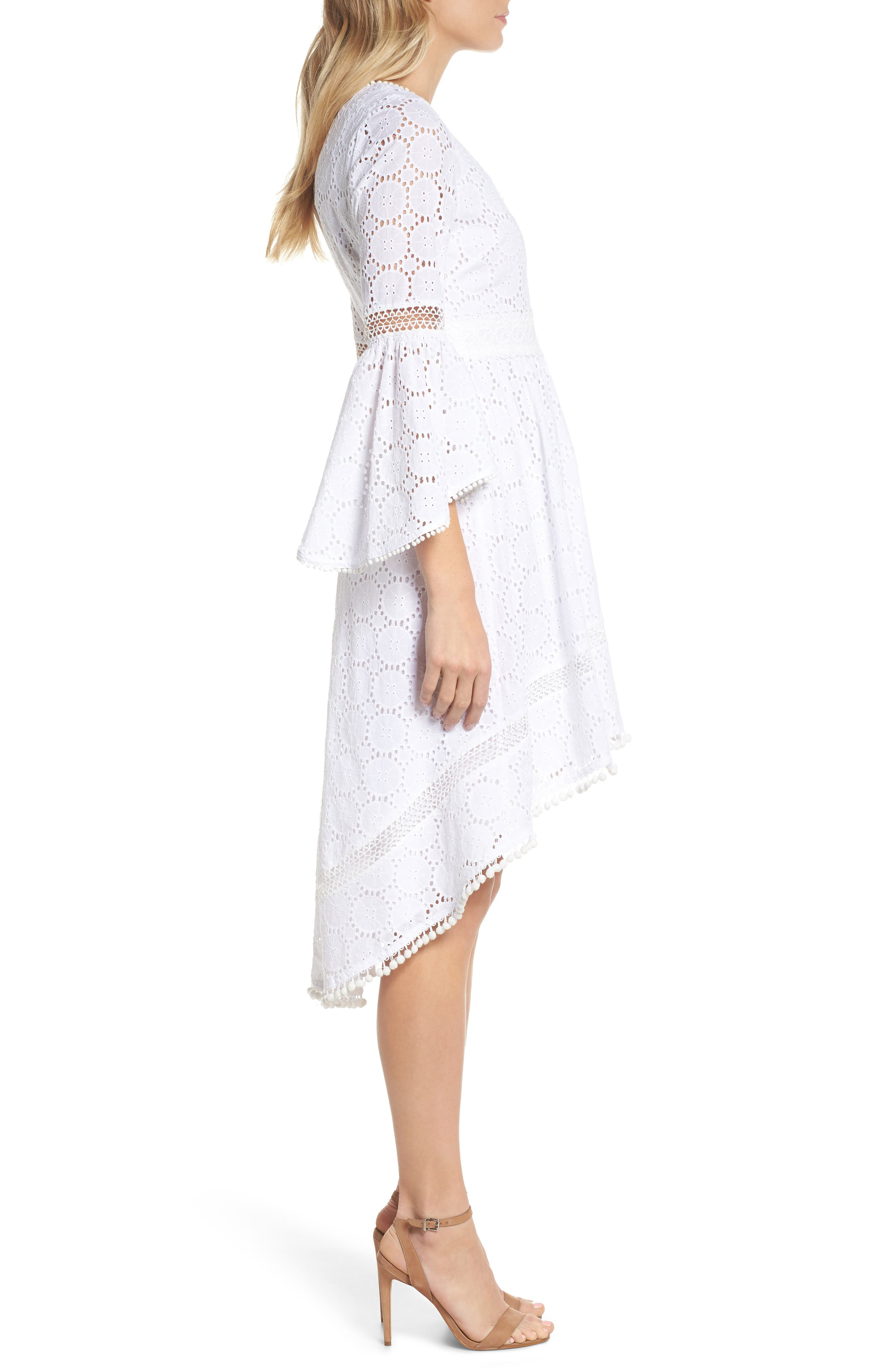 Bell Sleeve High/Low Eyelet Dress,                             Alternate thumbnail 3, color,                             Ivory
