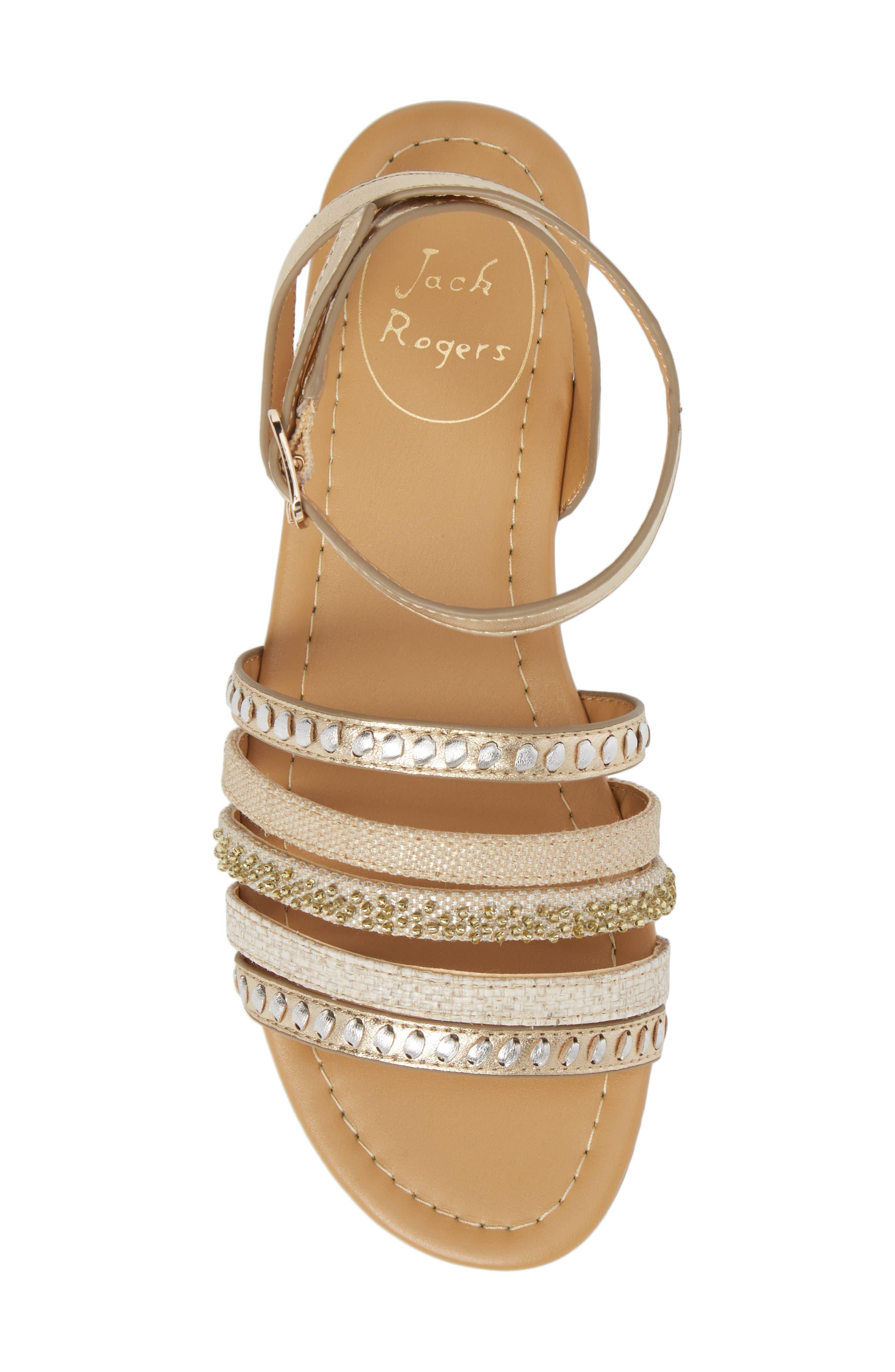 Hannah Braided Embellished Sandal,                             Alternate thumbnail 5, color,                             Platinum/ Silver Leather