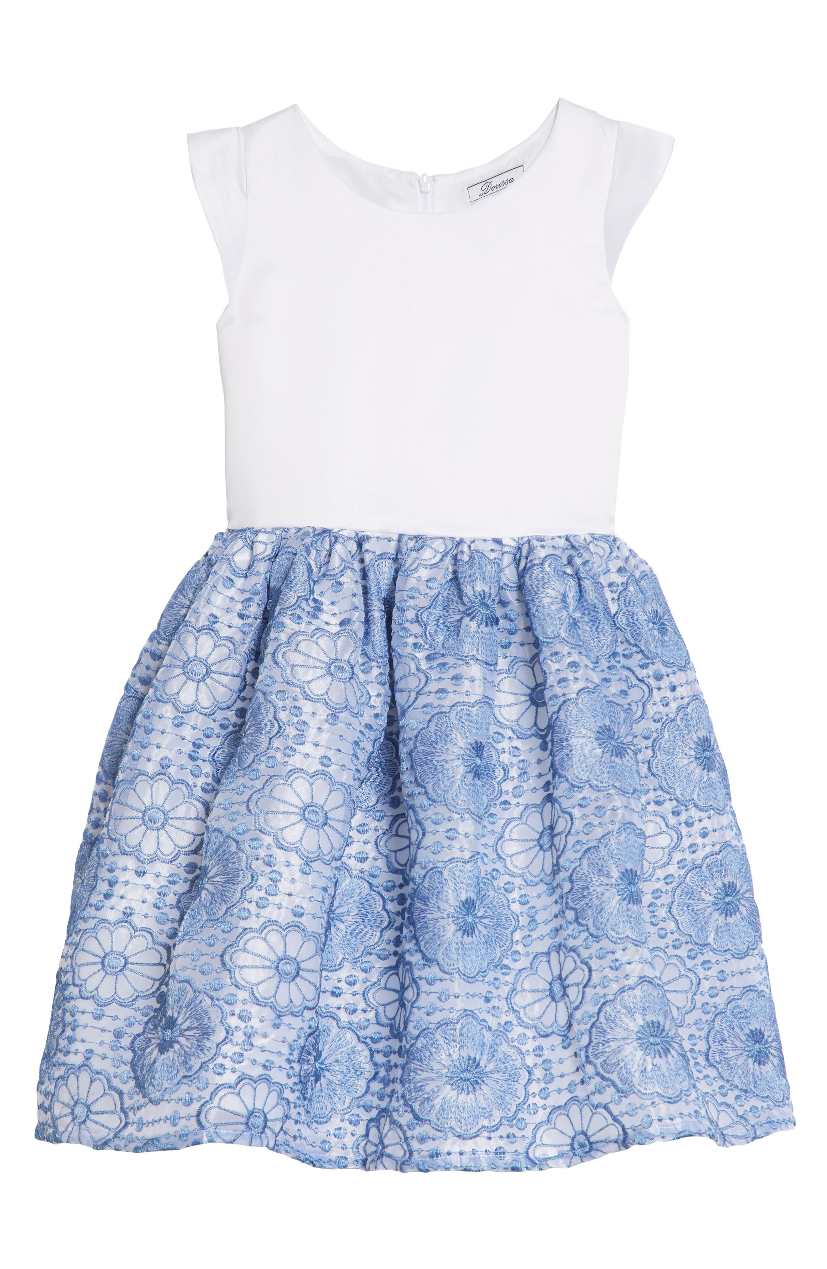 Lily Embroidered Dress,                             Main thumbnail 1, color,                             White/ Blue