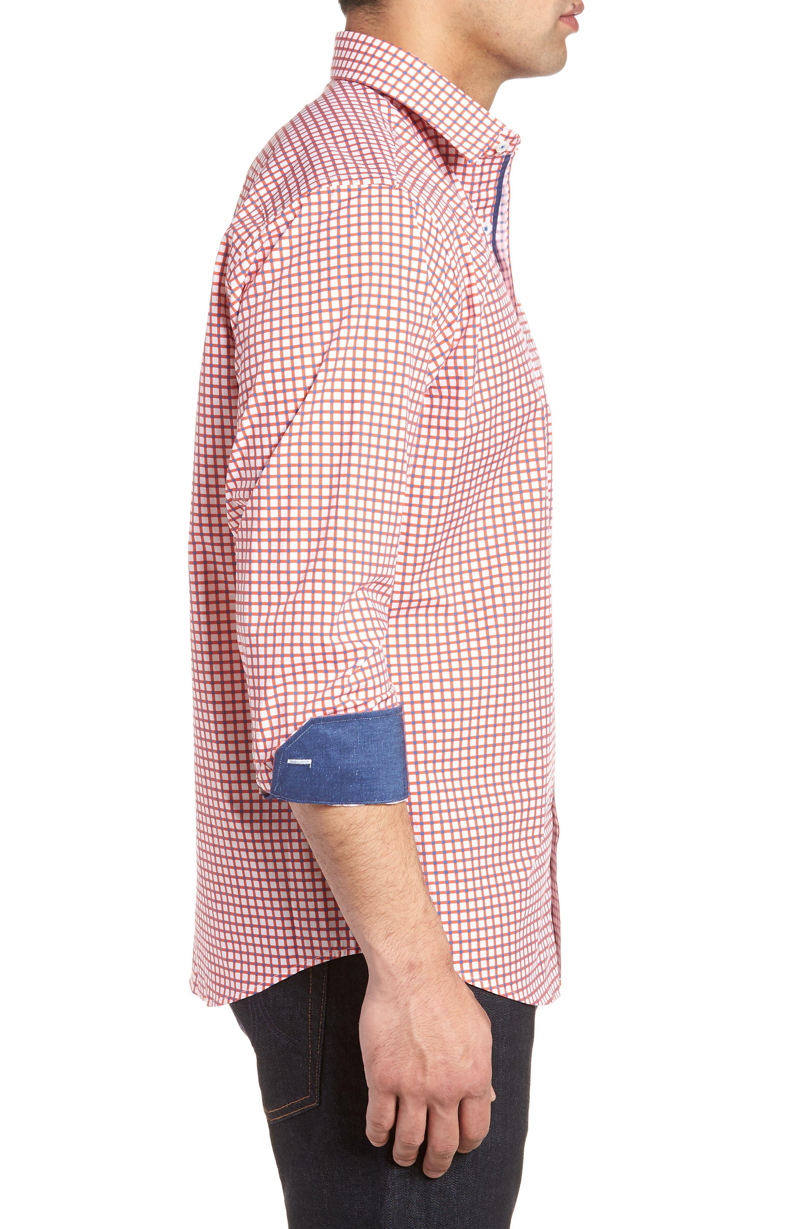 Classic Fit Check Sport Shirt,                             Alternate thumbnail 3, color,                             Tangerine