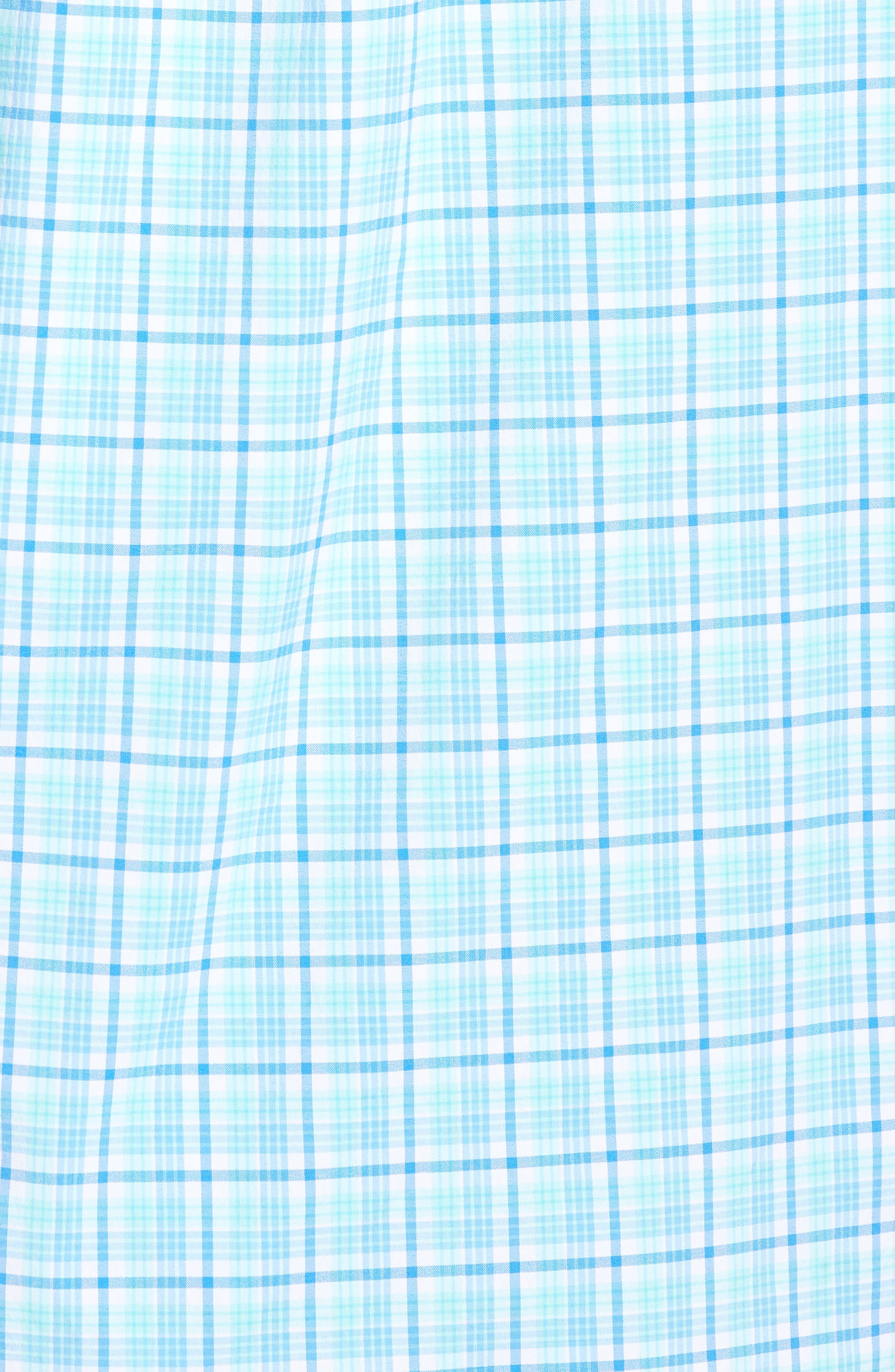 Tipsy Bar Classic Fit Stretch Plaid Sport Shirt,                             Alternate thumbnail 5, color,                             Turquoise
