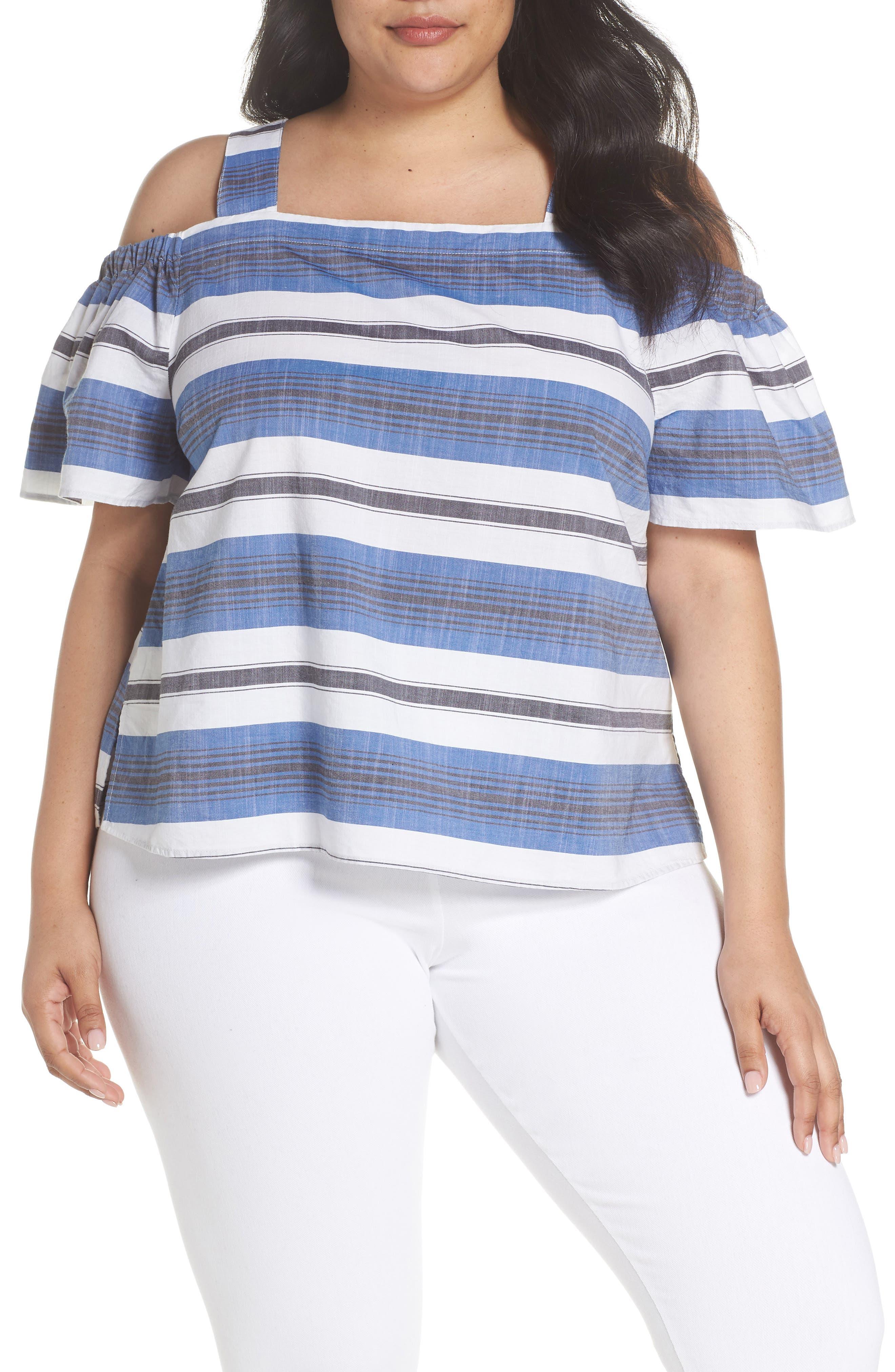 Cold Shoulder Stripe Top,                             Main thumbnail 1, color,                             Blue Multi