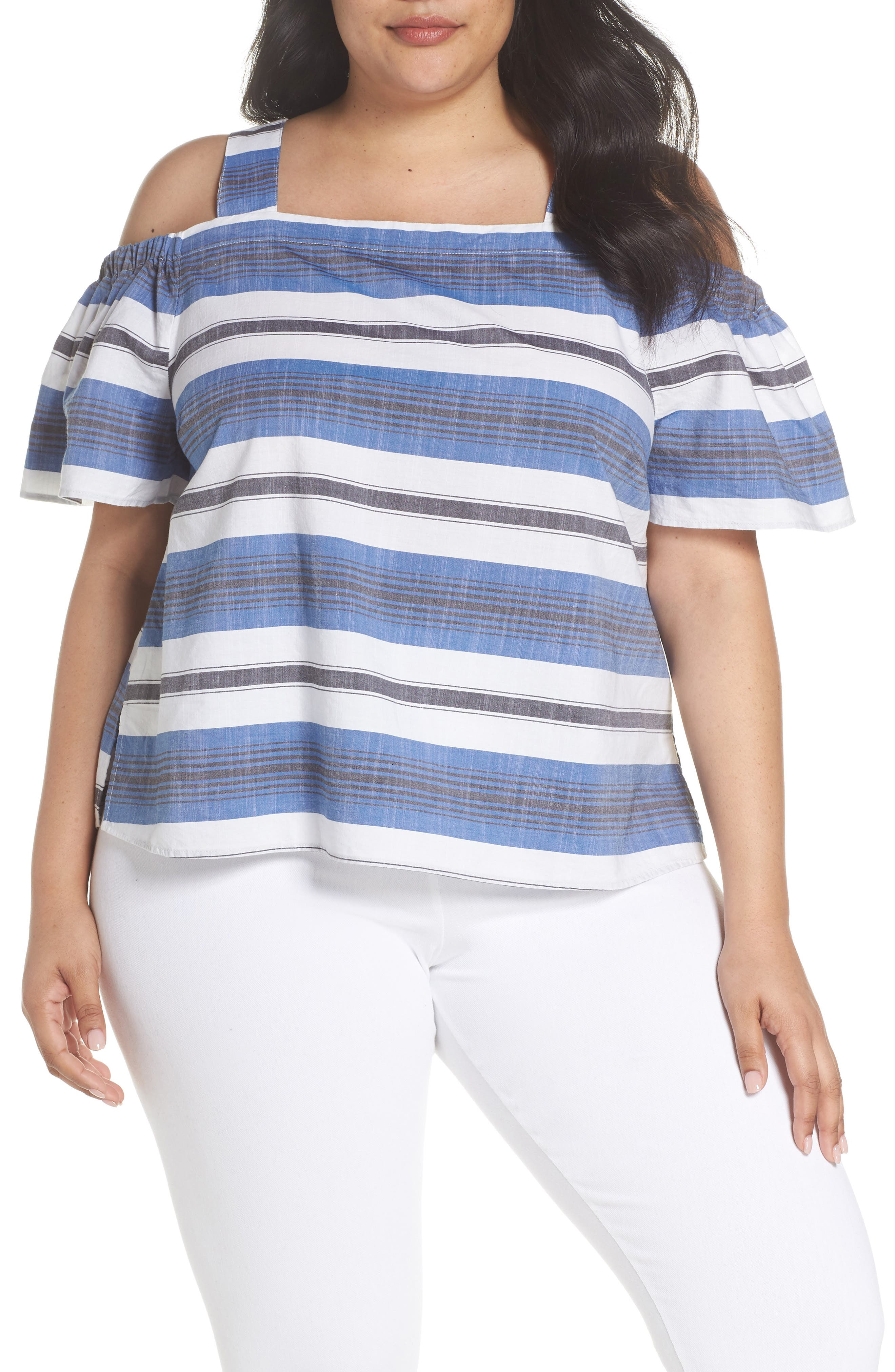Cold Shoulder Stripe Top,                         Main,                         color, Blue Multi