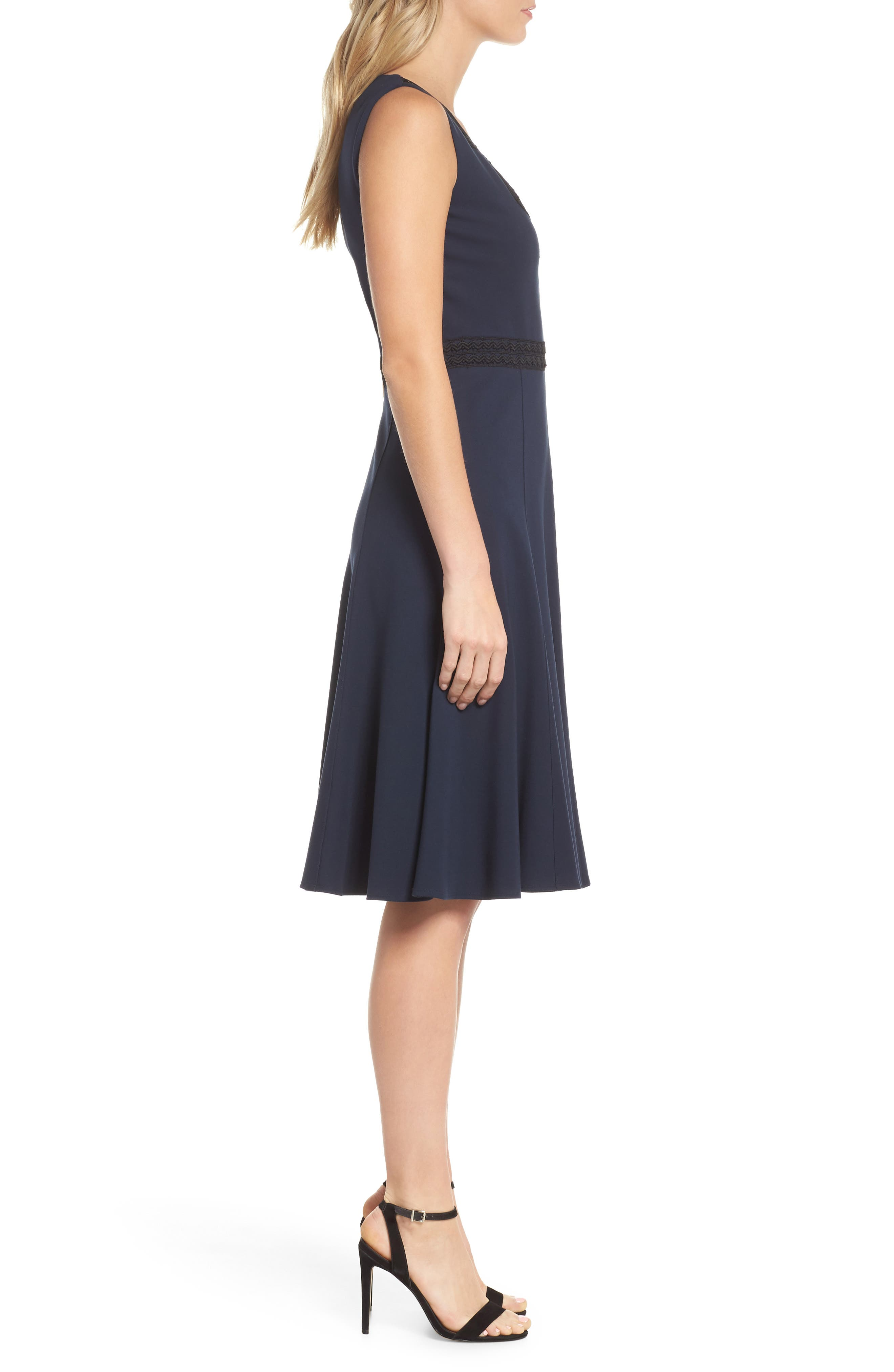 Hazel Lace Trim V-Neck Dress,                             Alternate thumbnail 3, color,                             Midnight Blue/ Black