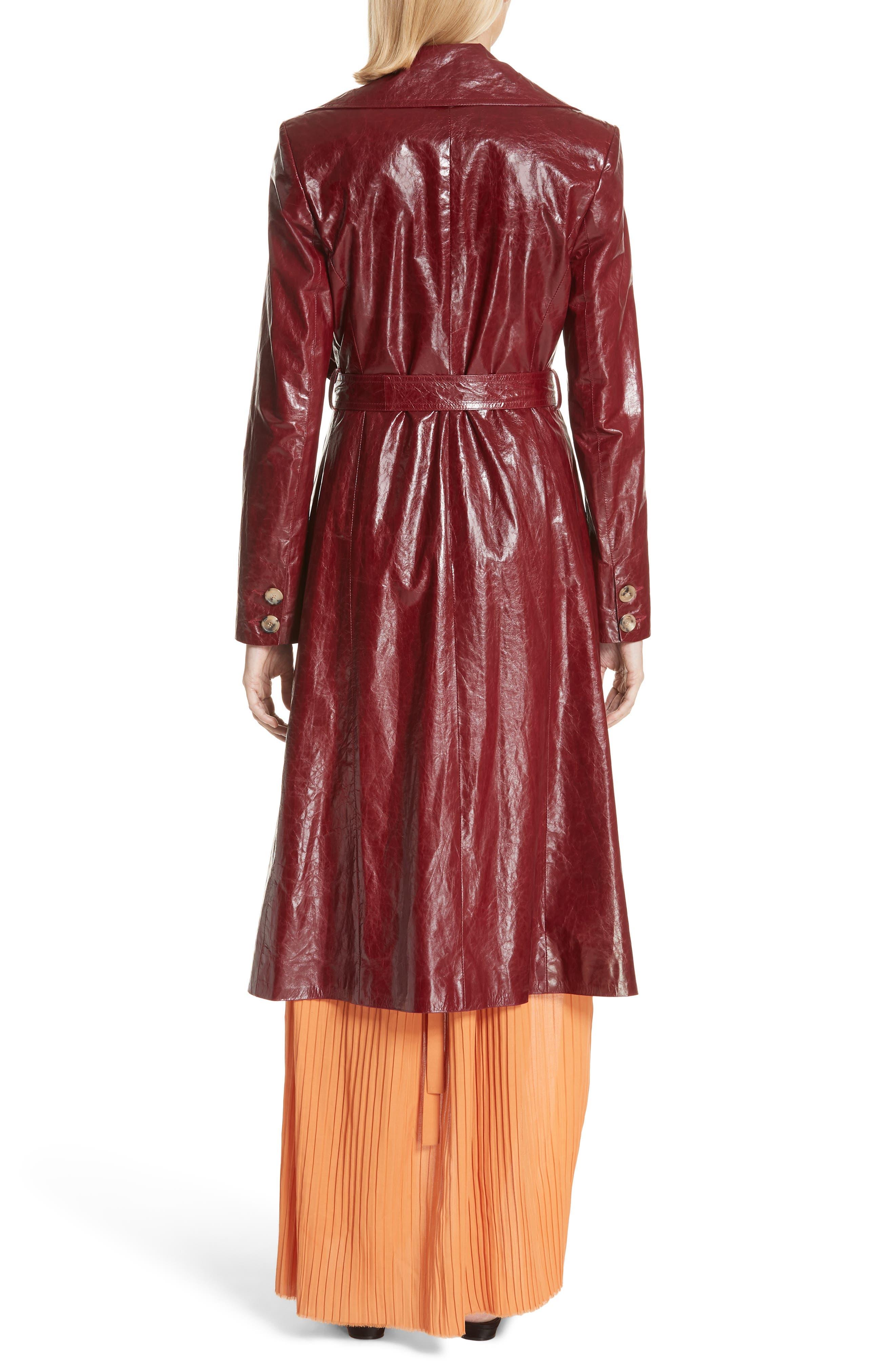 Leather Trench Coat,                             Alternate thumbnail 2, color,                             Bordeaux