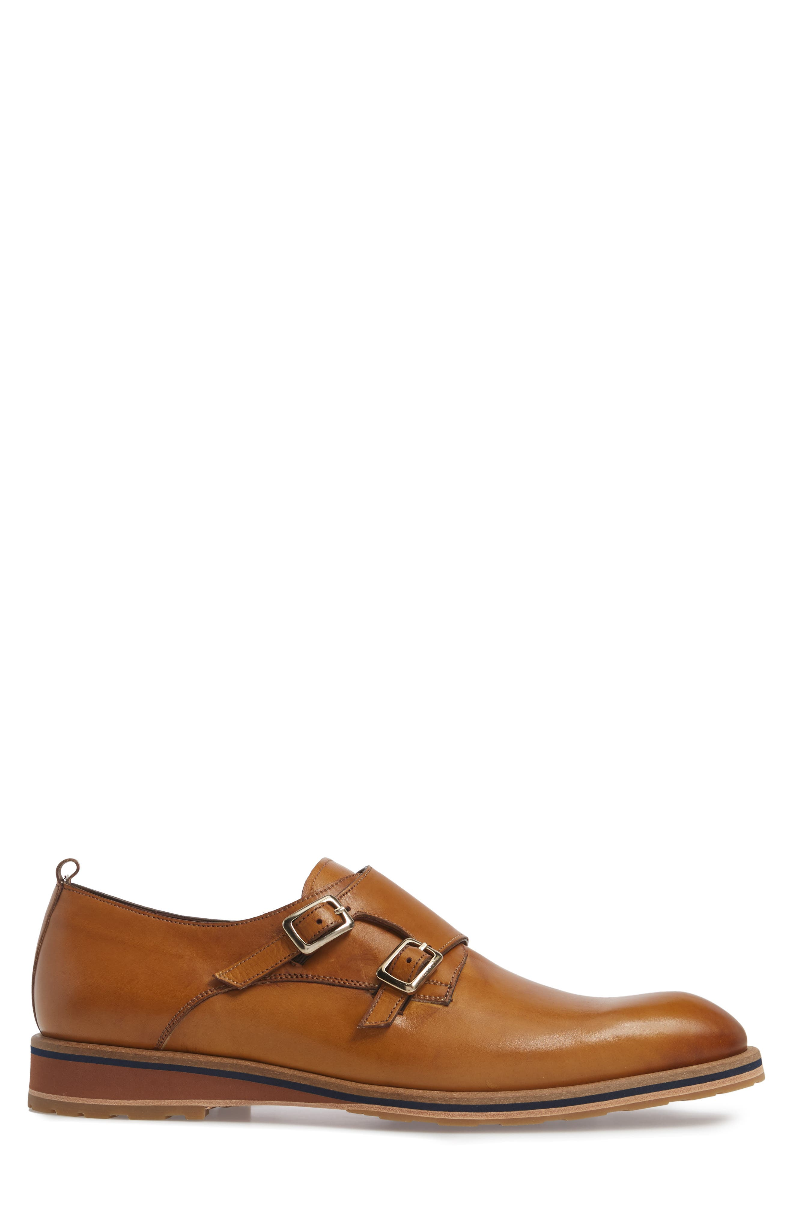 Apolo Double Buckle Monk Shoe,                             Alternate thumbnail 3, color,                             Honey Leather