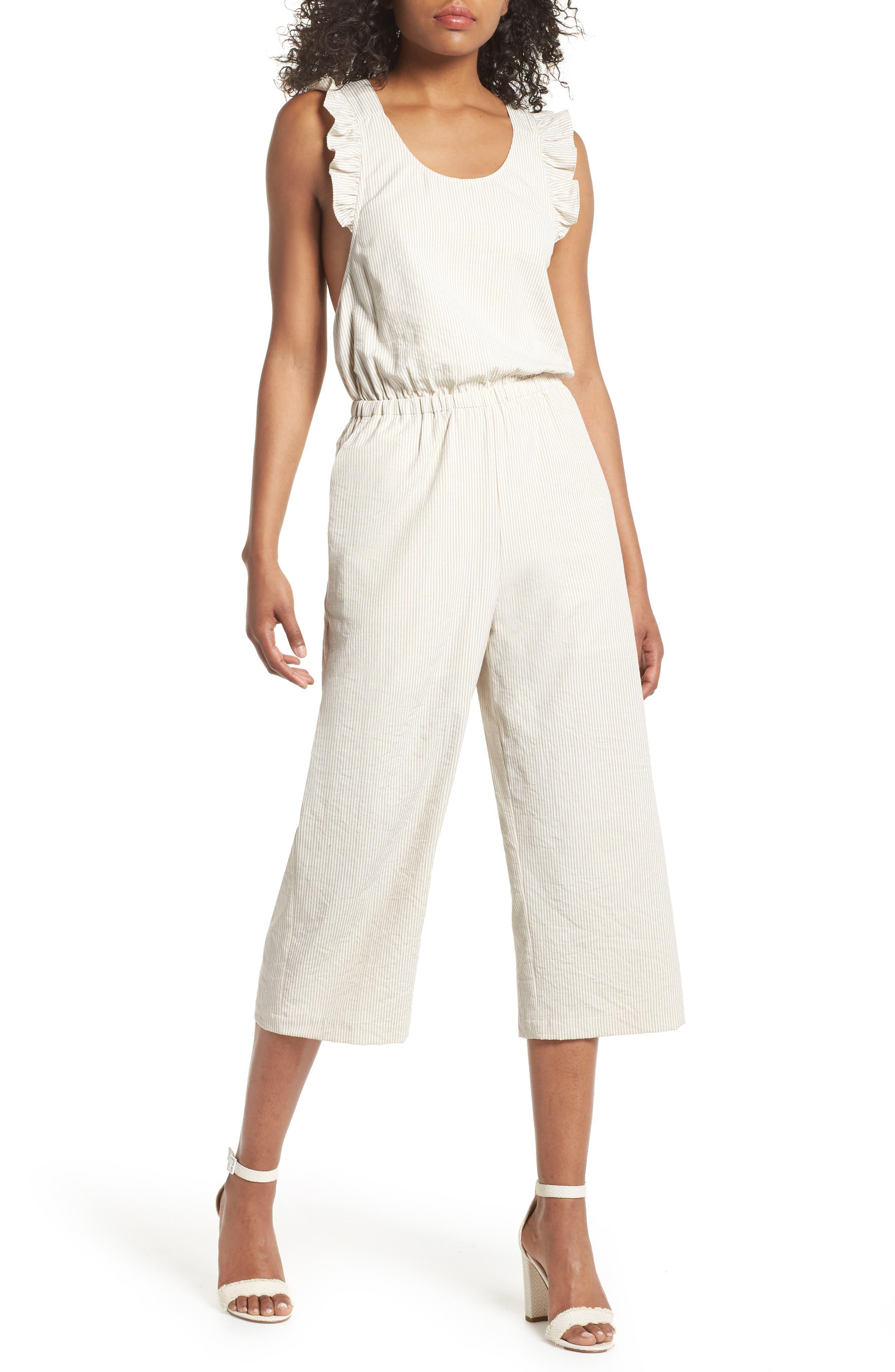 Stripe Ruffle Crop Jumpsuit,                         Main,                         color, White-Oat