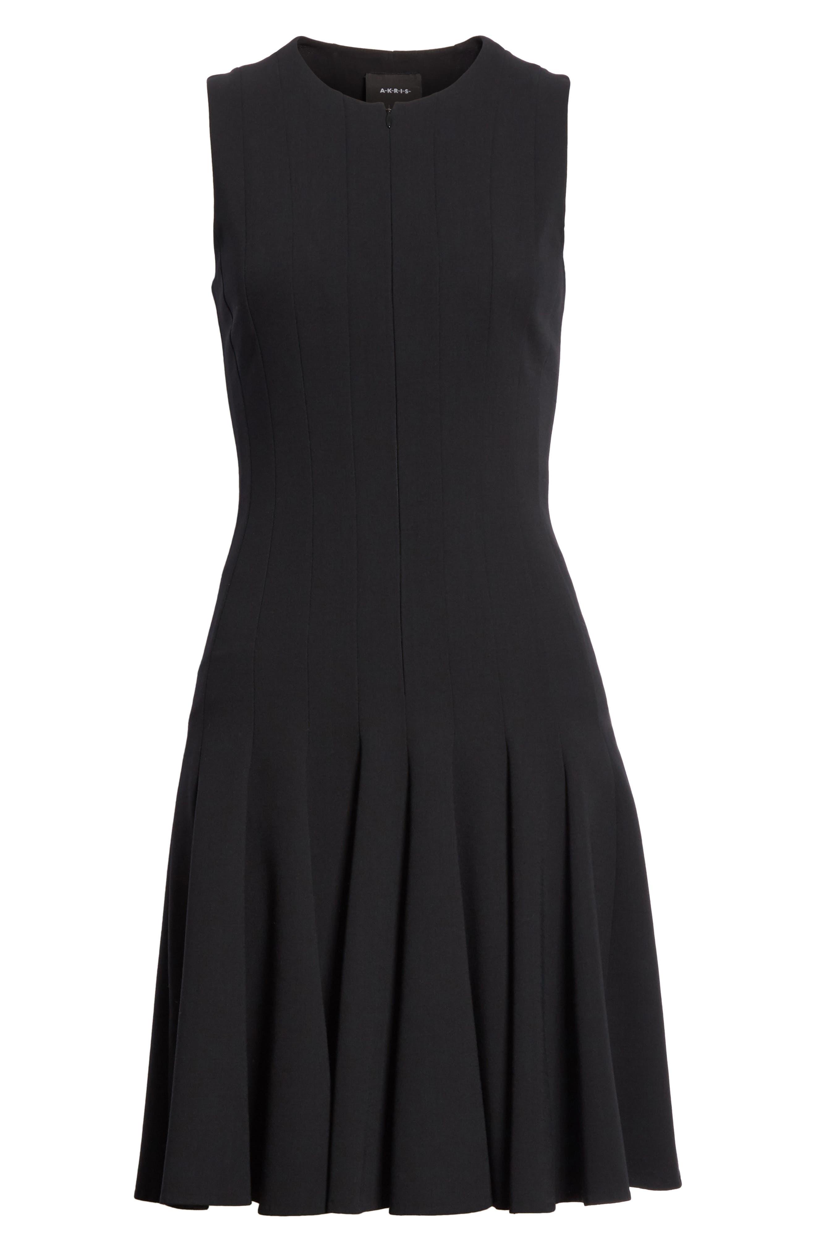 Sleeveless Godet Pleat Dress,                             Alternate thumbnail 6, color,                             Black