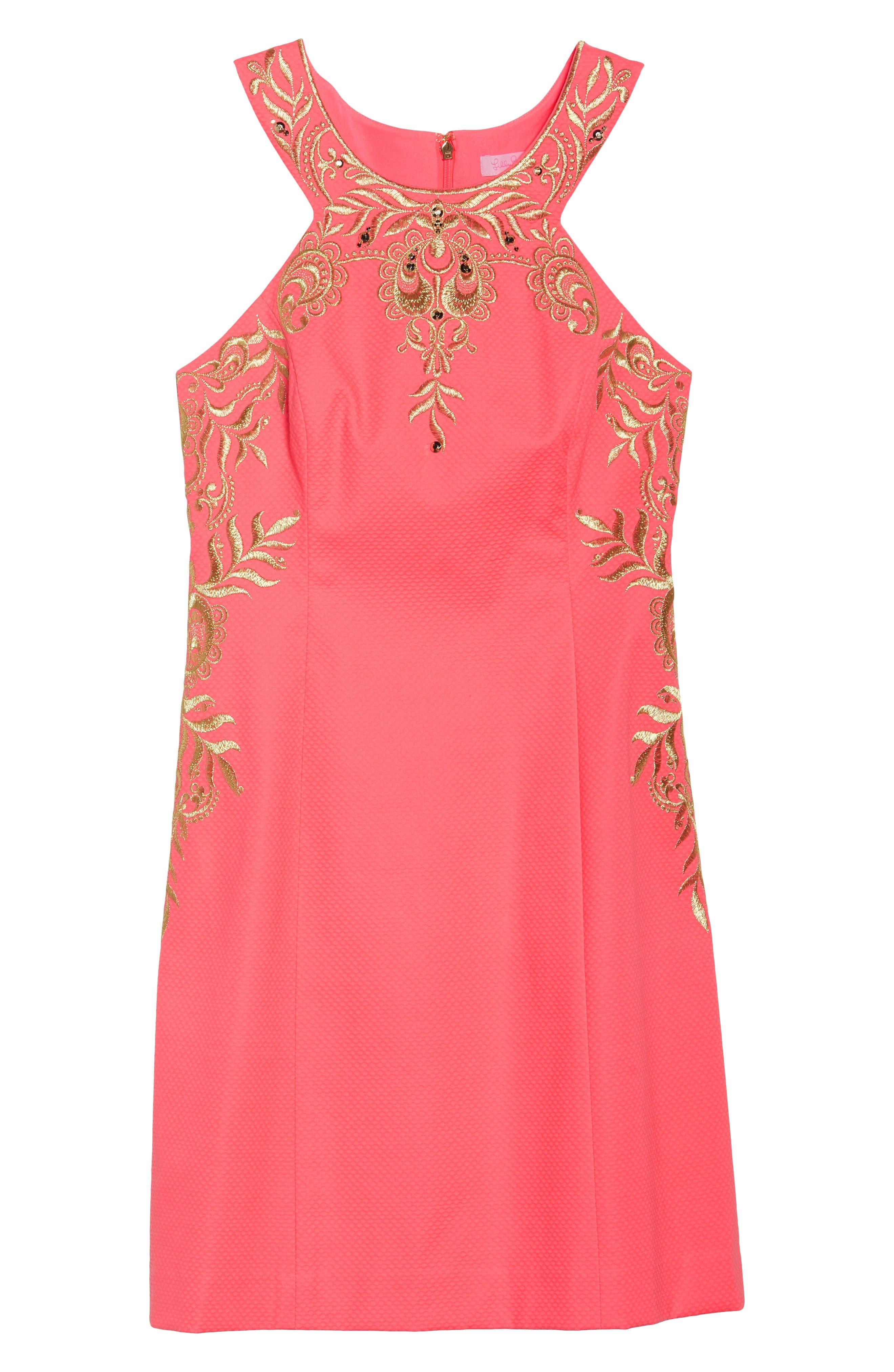 Tina Embroidered Sheath Dress,                             Alternate thumbnail 6, color,                             Coral Suns