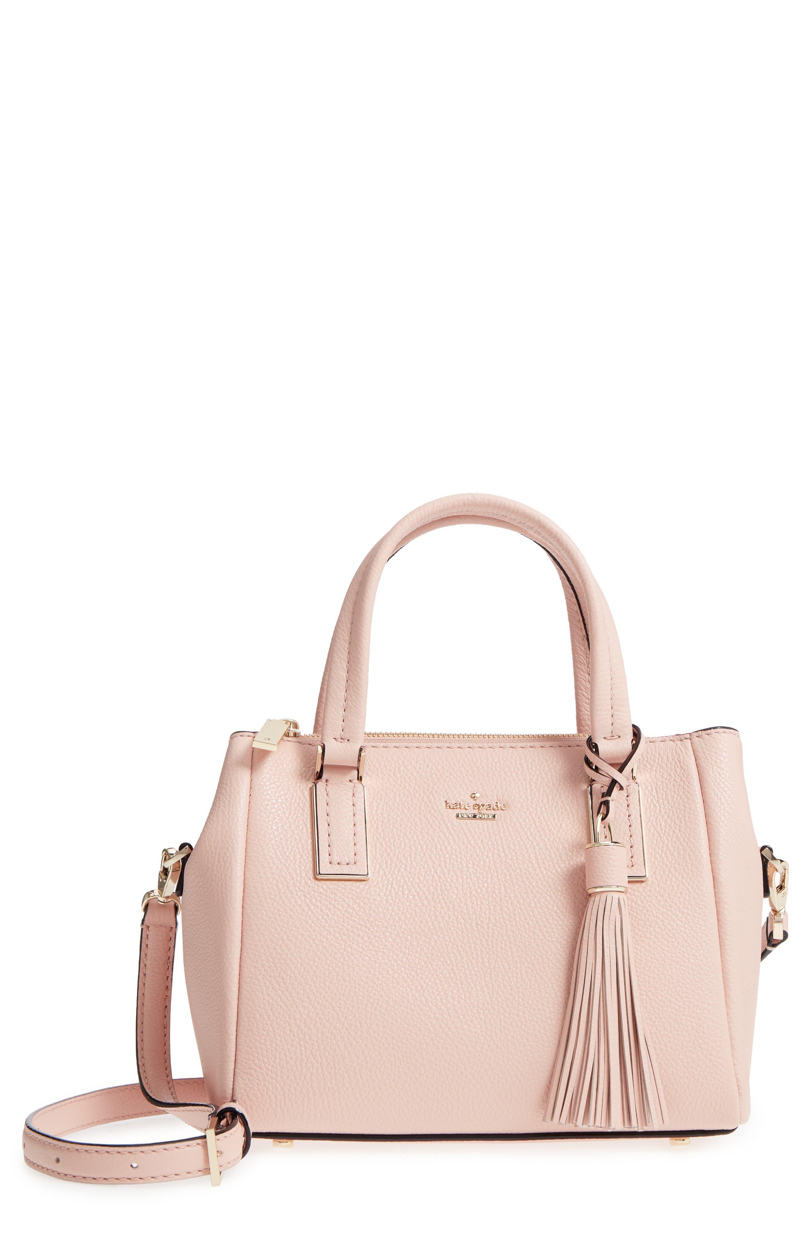 kingston drive - small alena leather satchel,                         Main,                         color, Warm Vellum