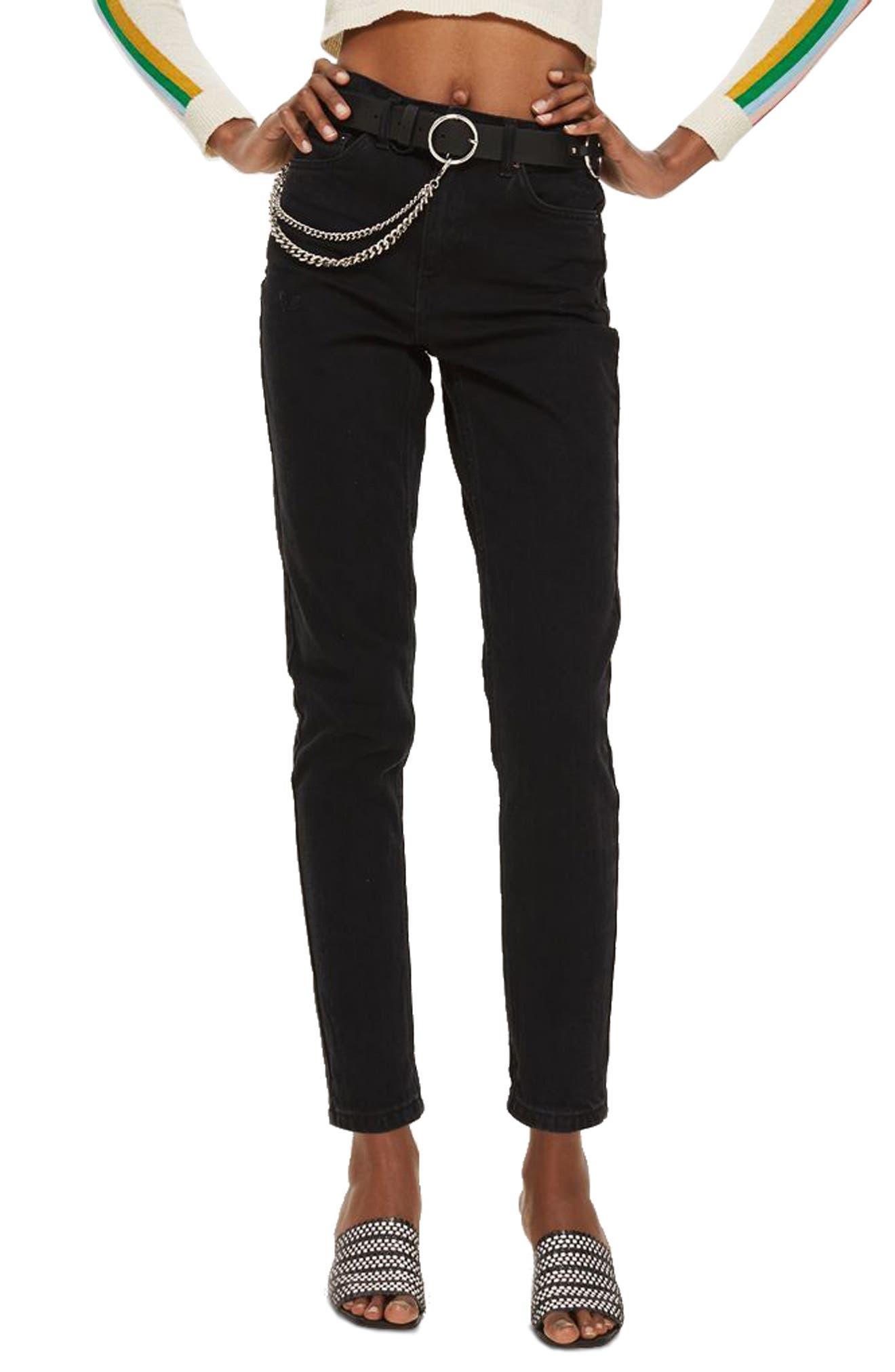 Black Mom Jeans,                         Main,                         color, Black