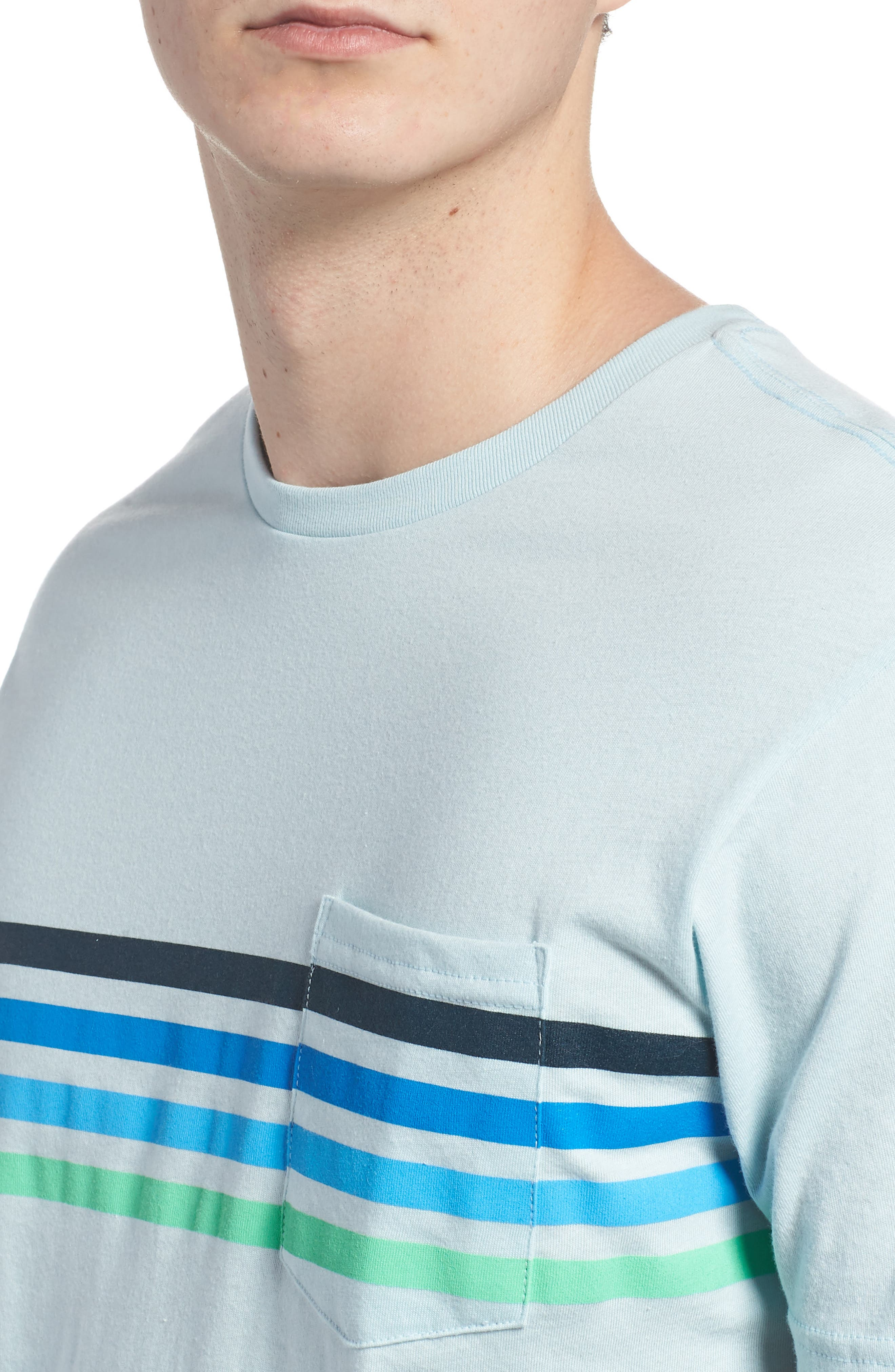 Team Stripe Pocket T-Shirt,                             Alternate thumbnail 4, color,                             Coastal Blue