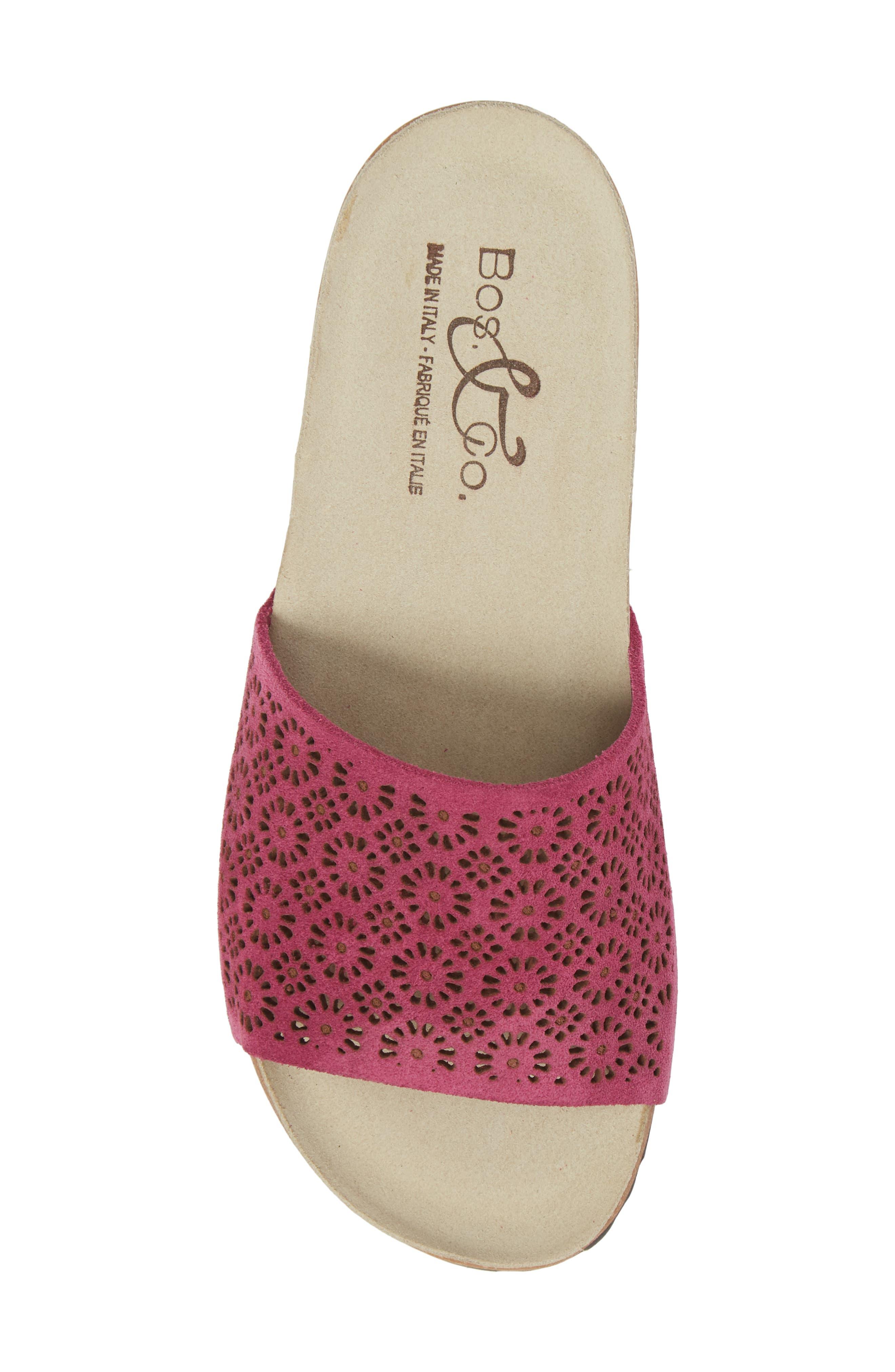 Loa Wedge Slide Sandal,                             Alternate thumbnail 5, color,                             Fuchsia Suede